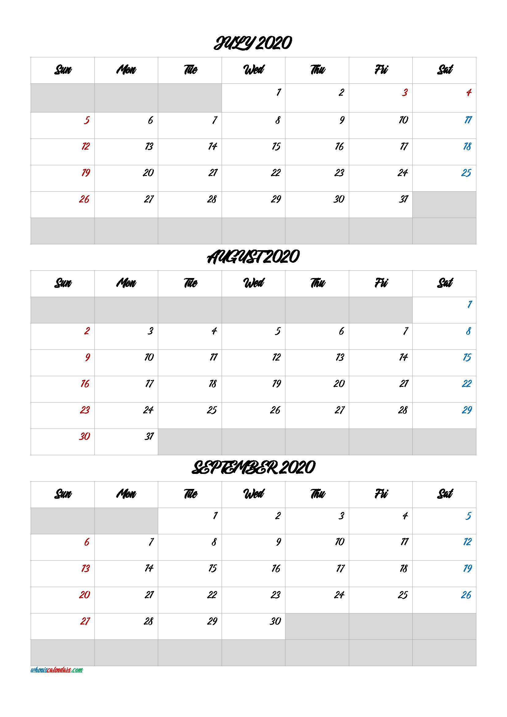 July August September 2020 Free Printable 3 Month Calendar