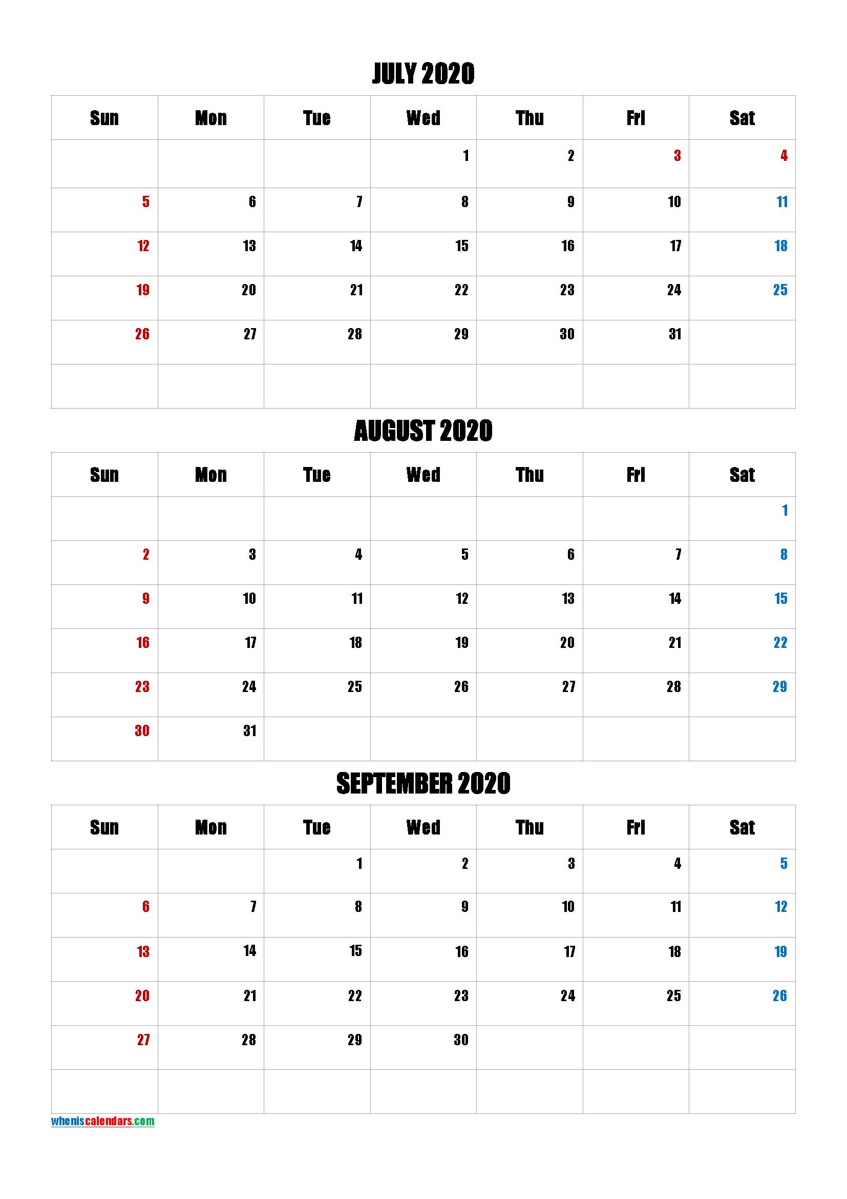July August September 2020 Calendar PDF