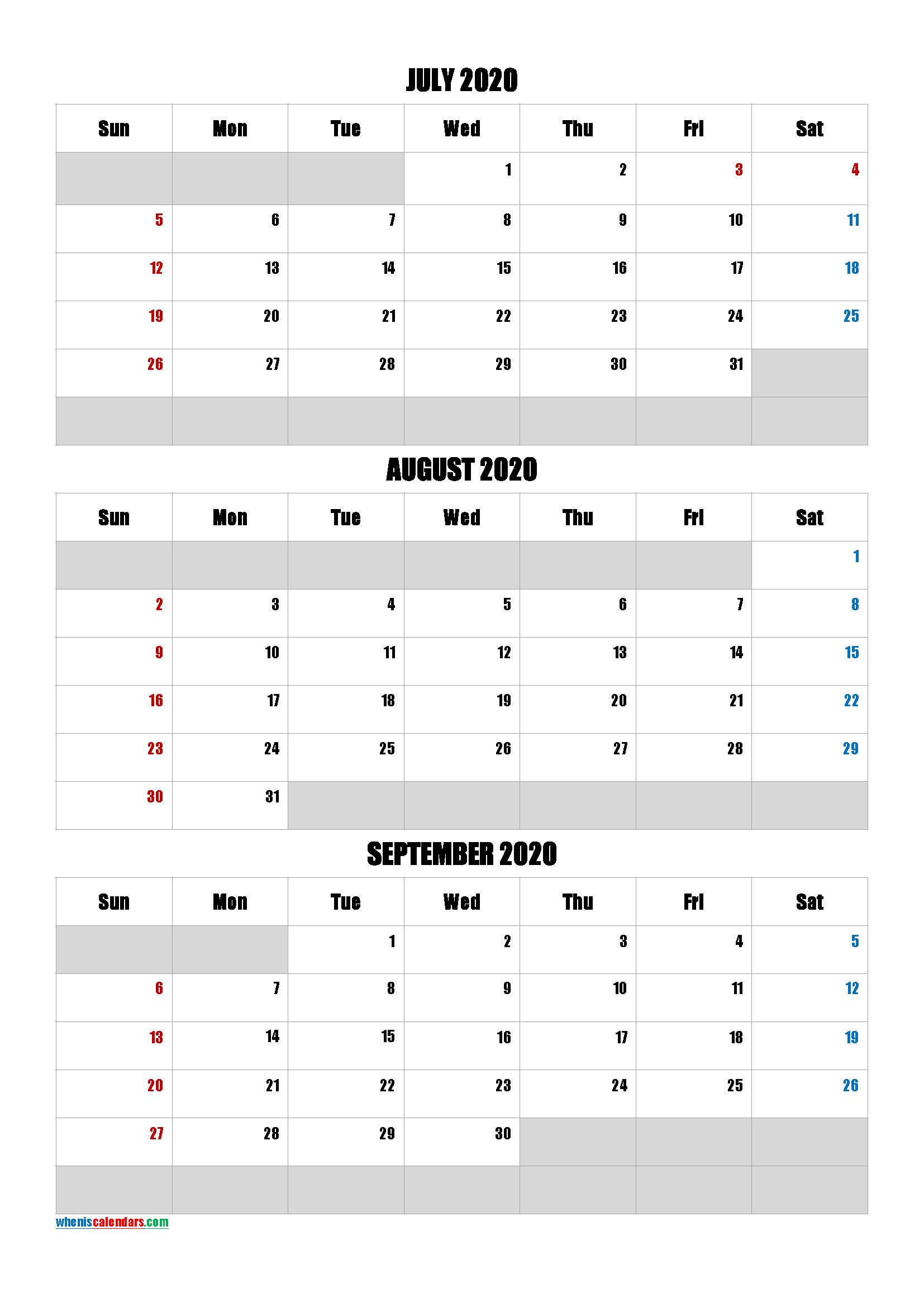 Calendar July August September 2020