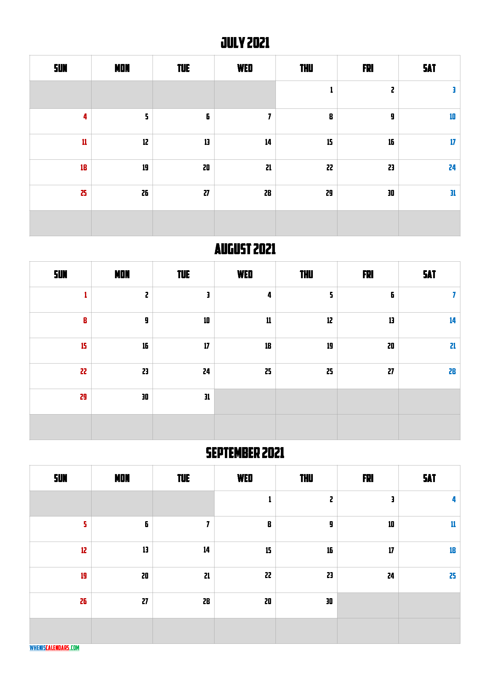 Calendar July August September 2021