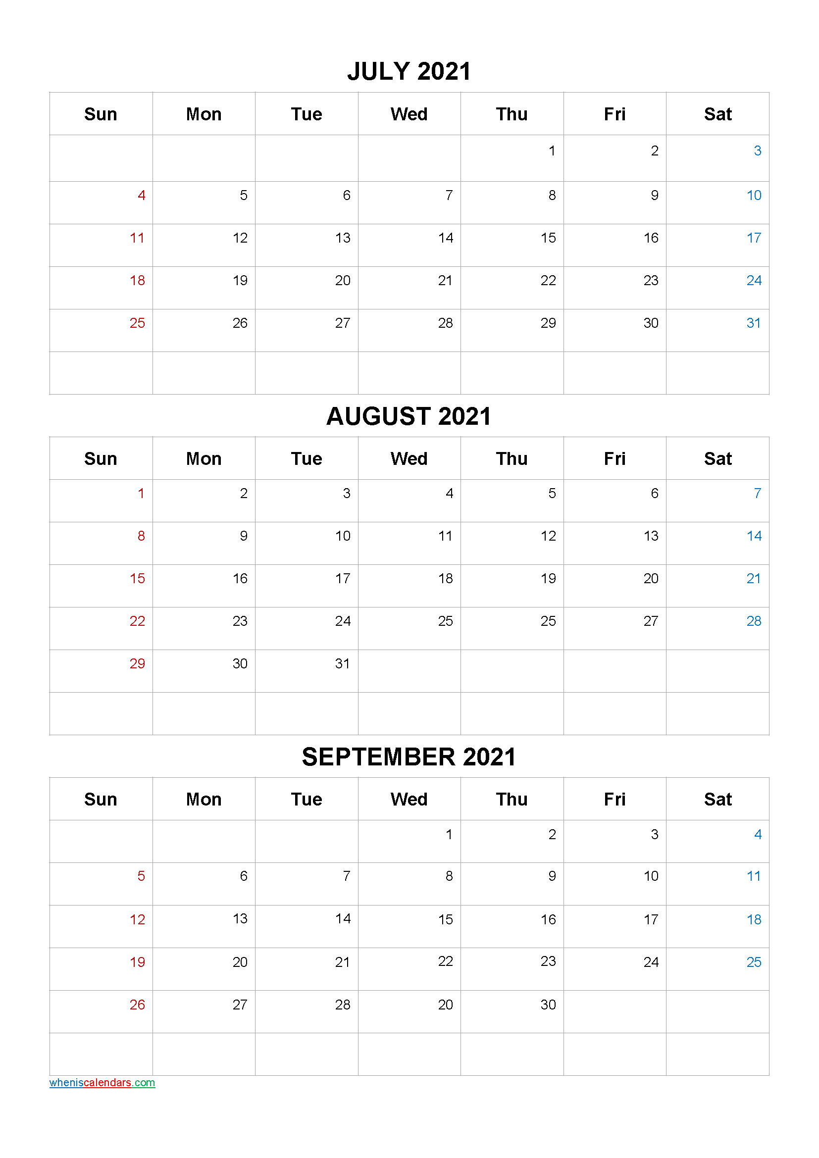 July August September 2021 Calendar Printable Free