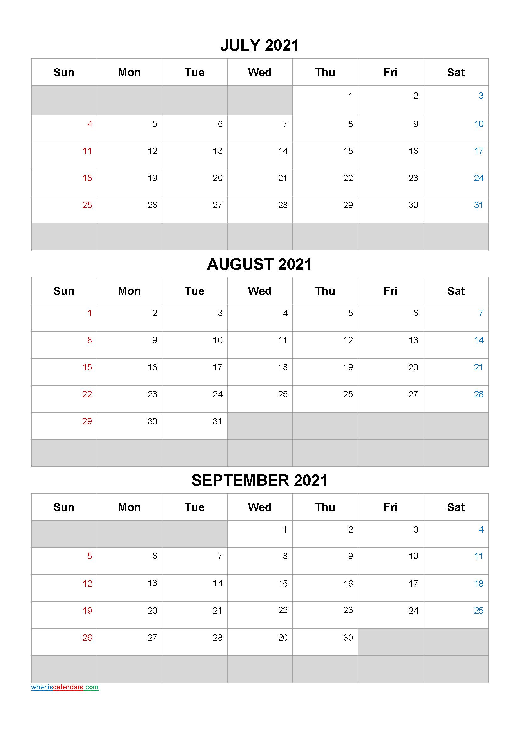 July August September 2021 Calendar Template