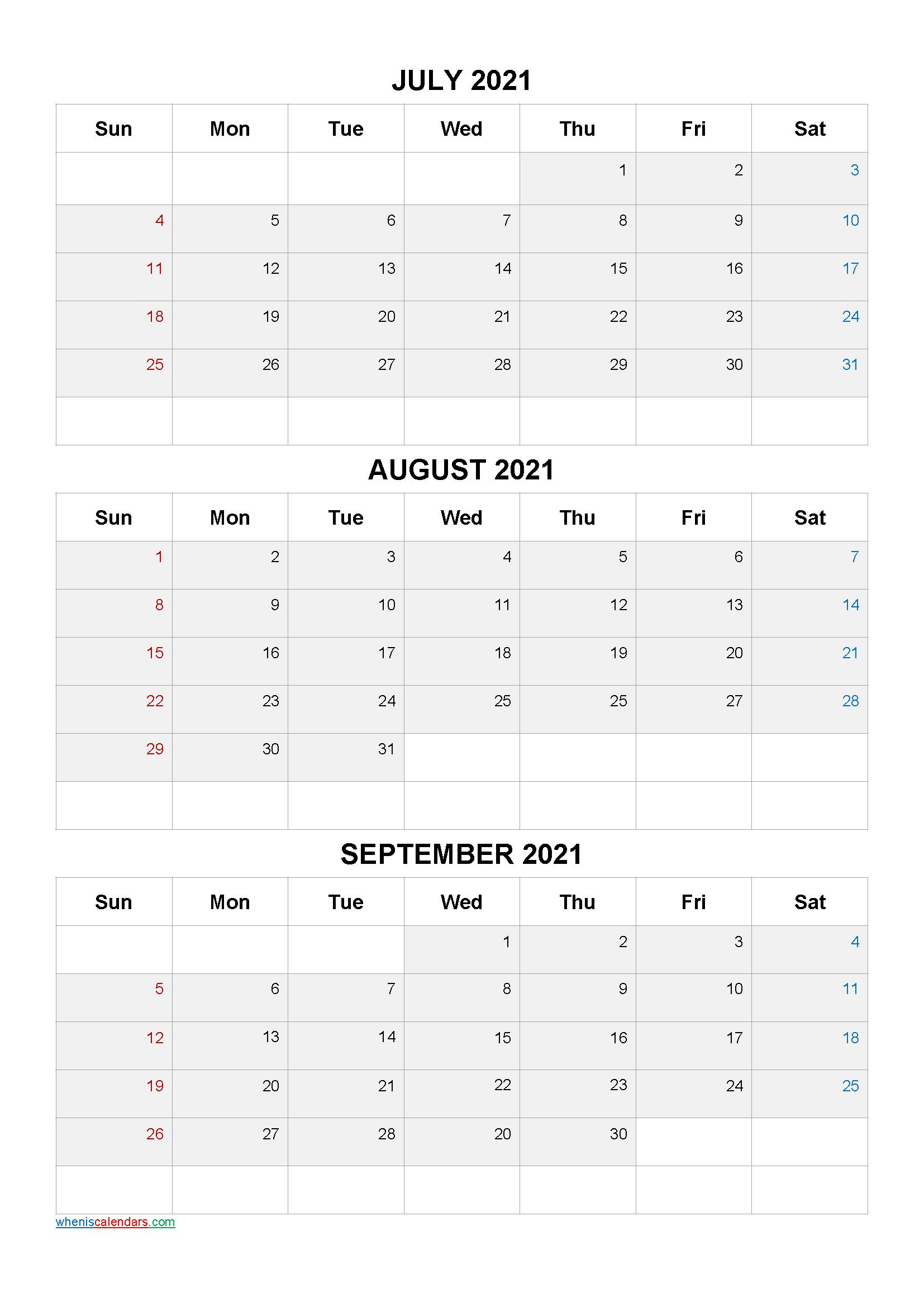 Calendar July August September 2021 PDF