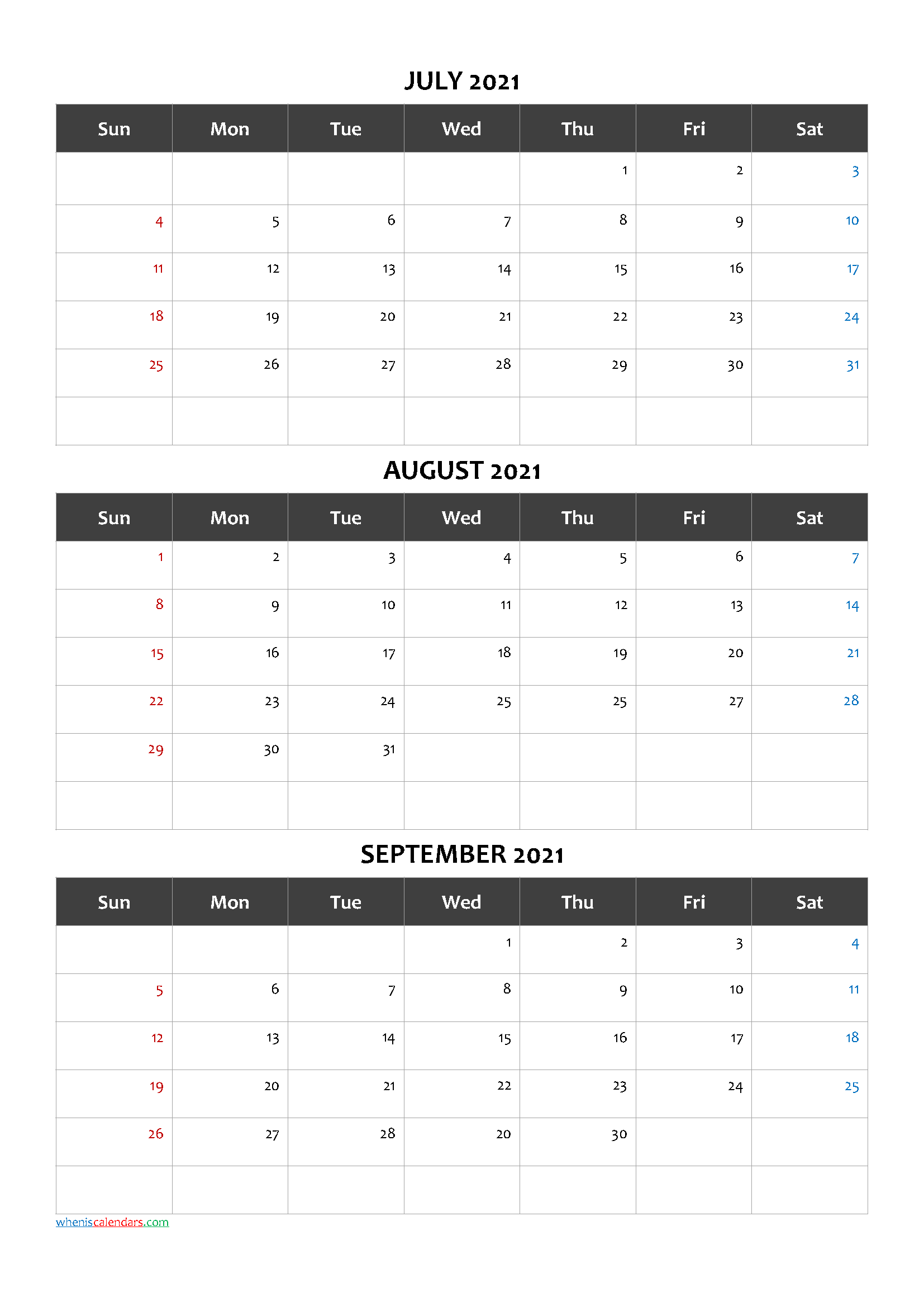 Free Calendar July August September 2021