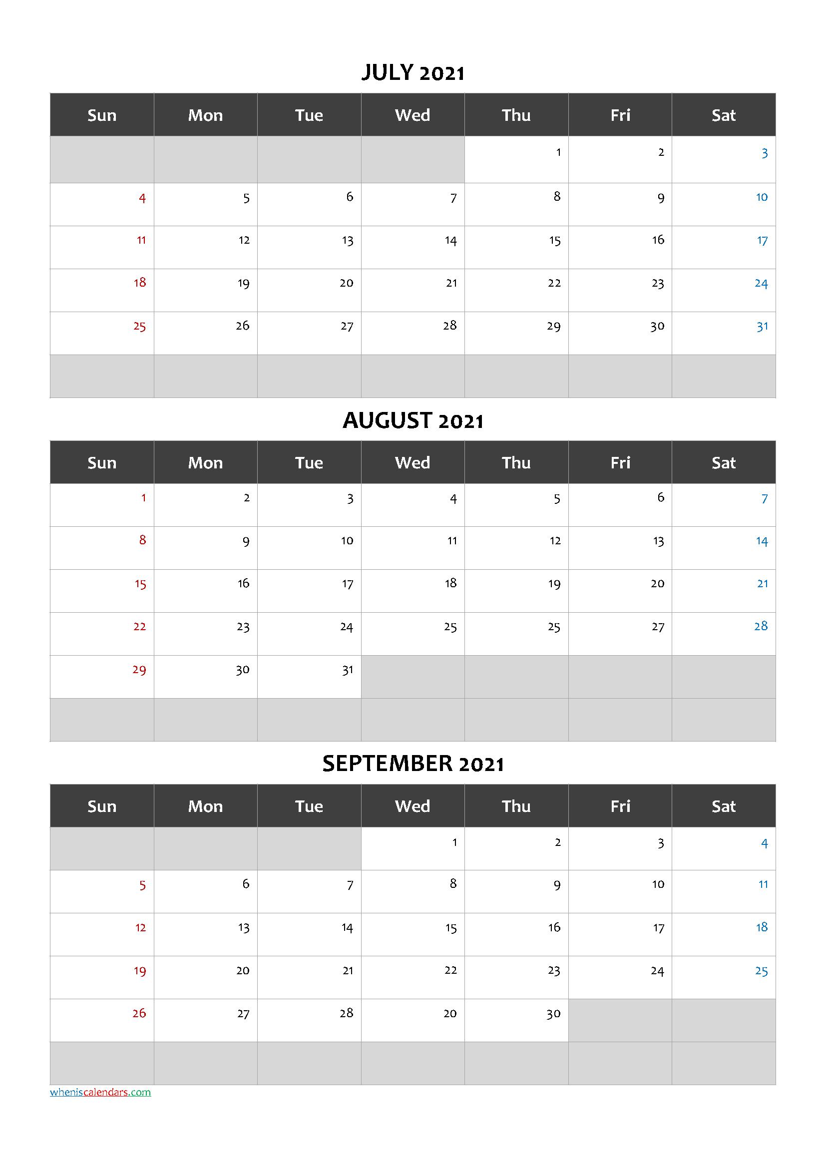 Printable Calendar July August September 2021