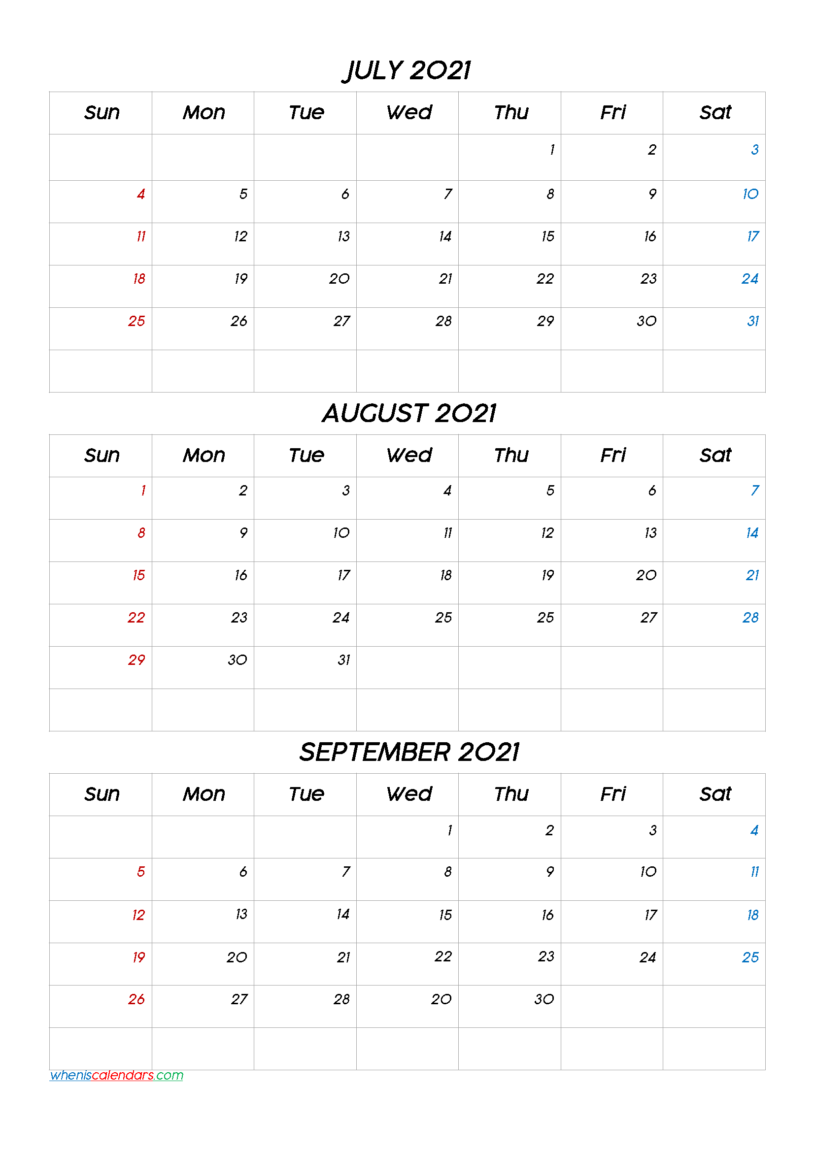 Printable Calendar July August September 2021