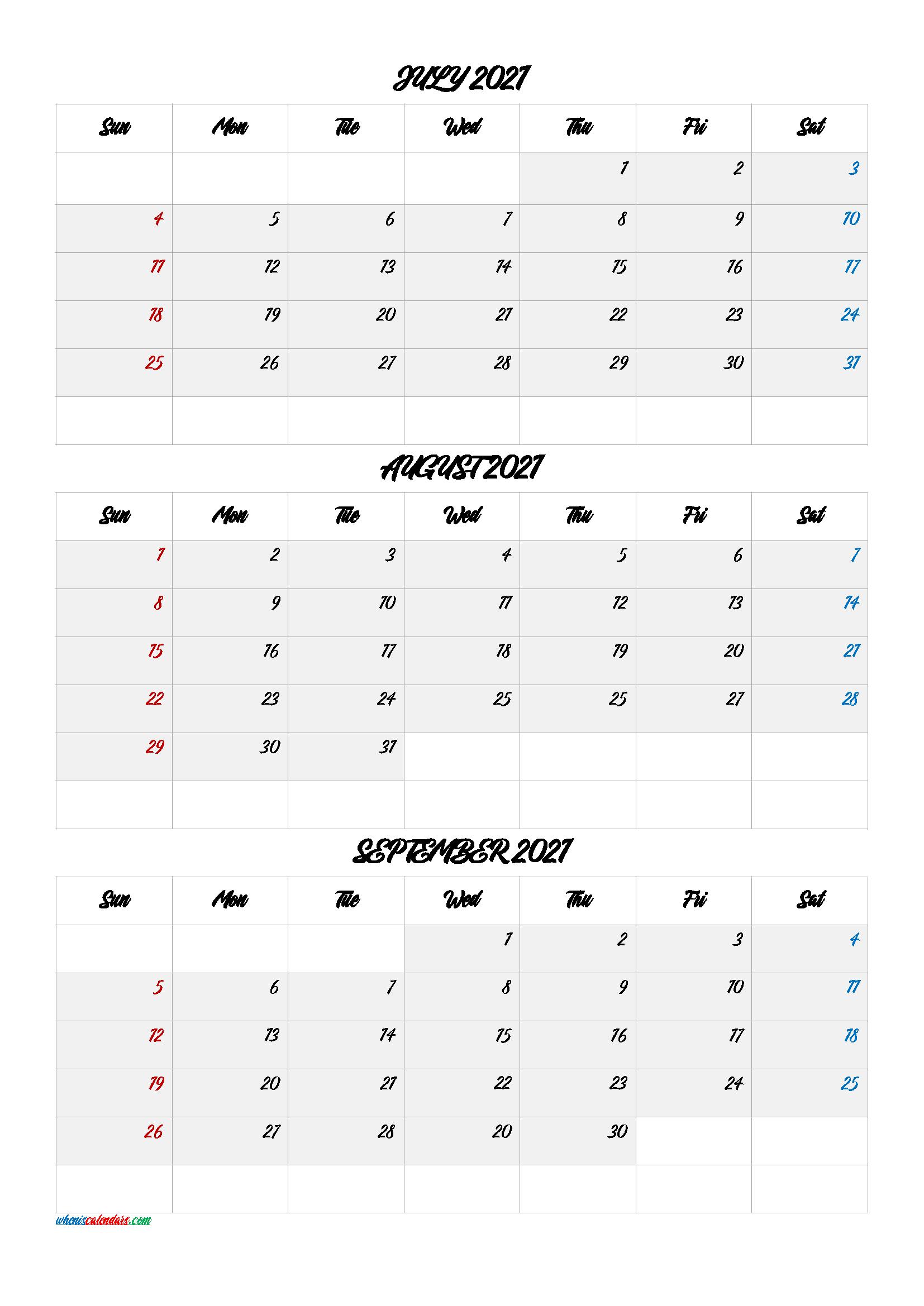 July August September 2021 Calendar Printable Free