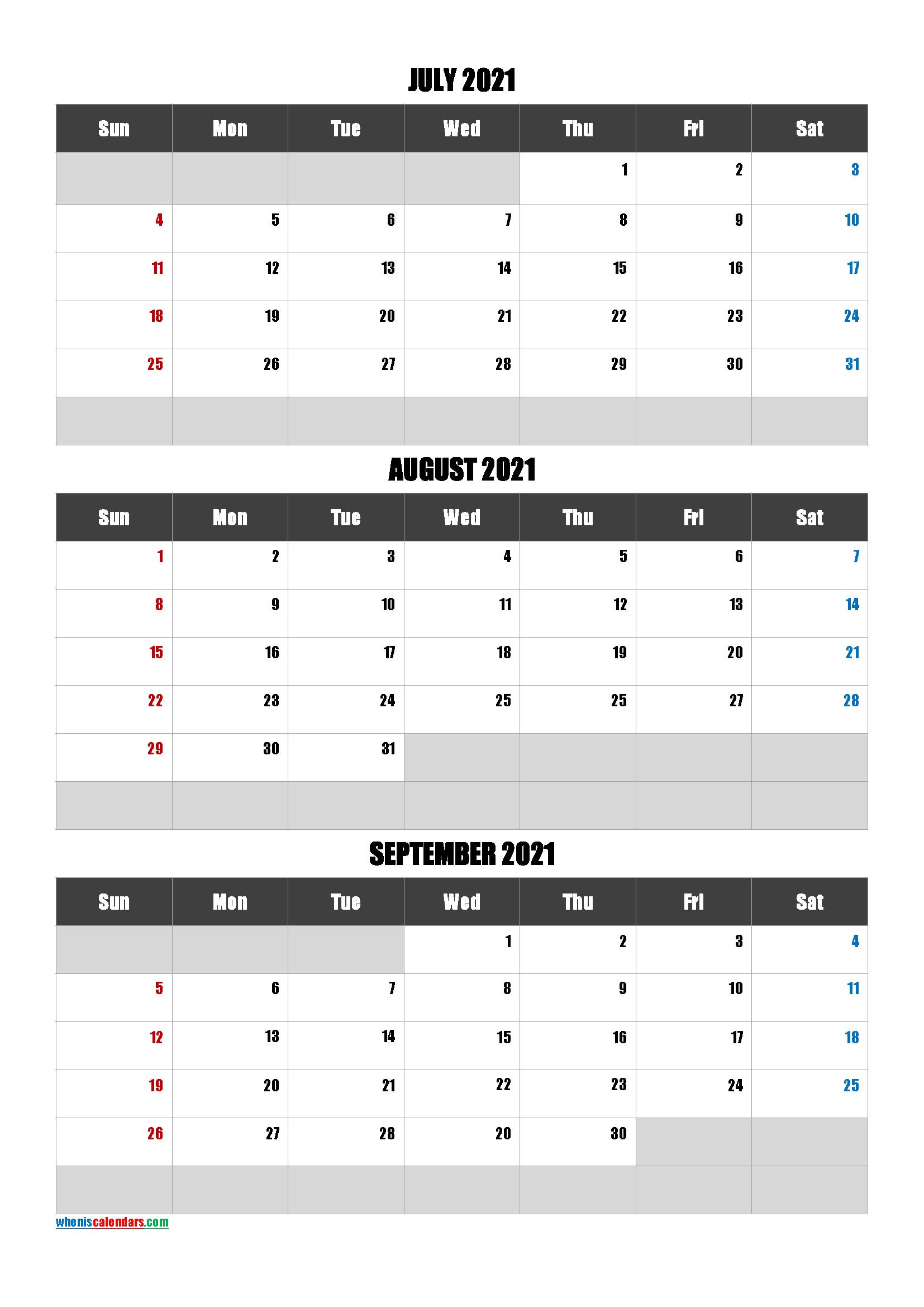 July August September 2021 Calendar Free Download