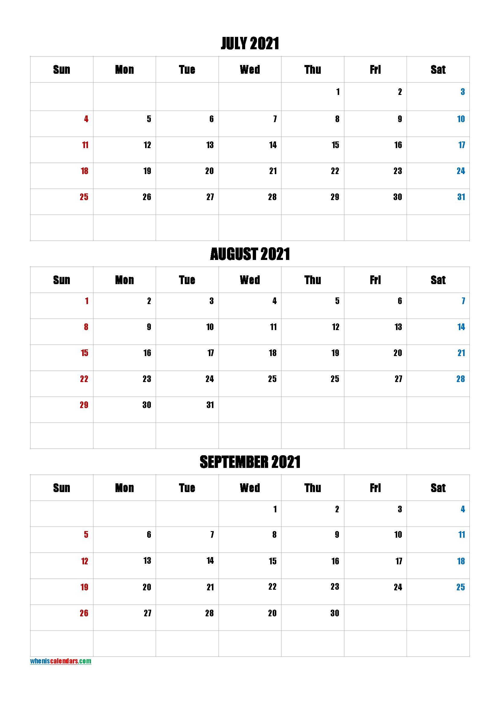Free July August September 2021 Calendar