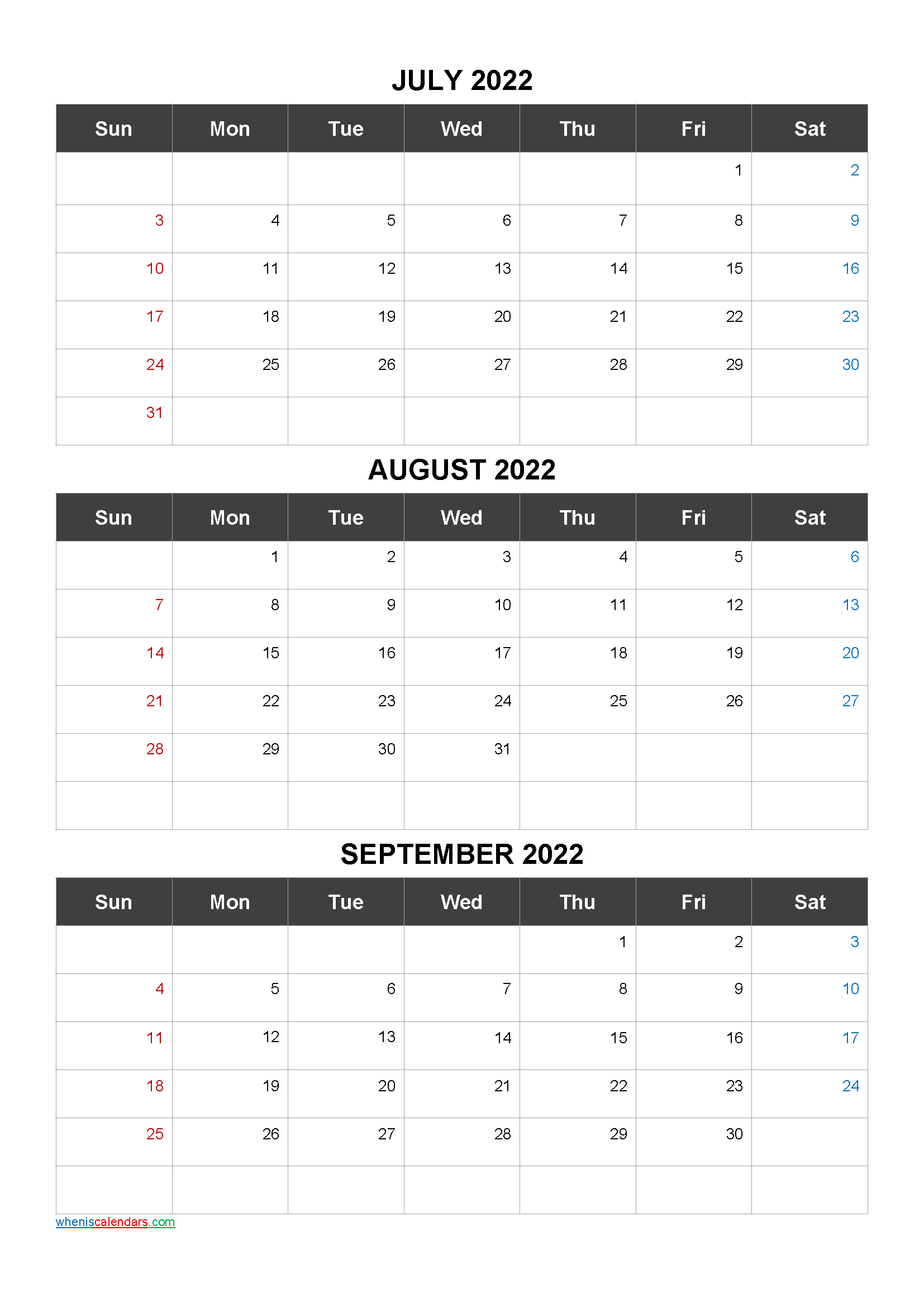 Free Printable 3 Month Calendar2022 July August September