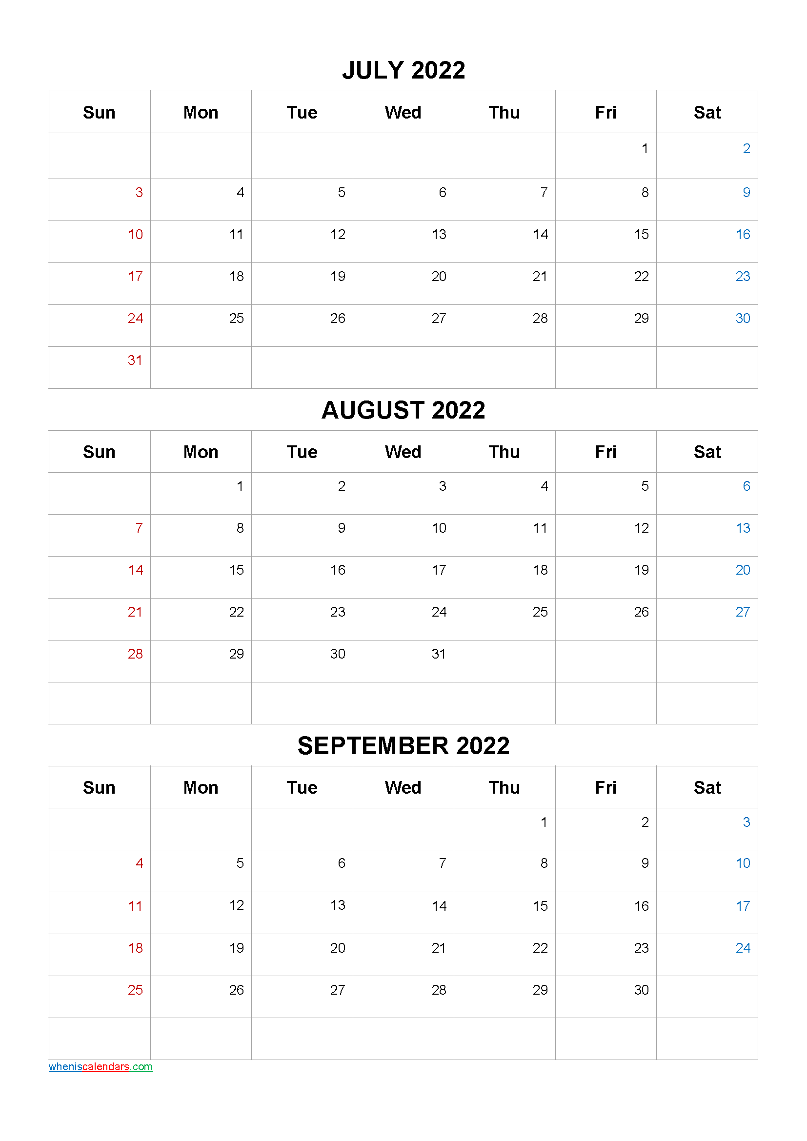 July August September 2022 Three Month Calendar Printable
