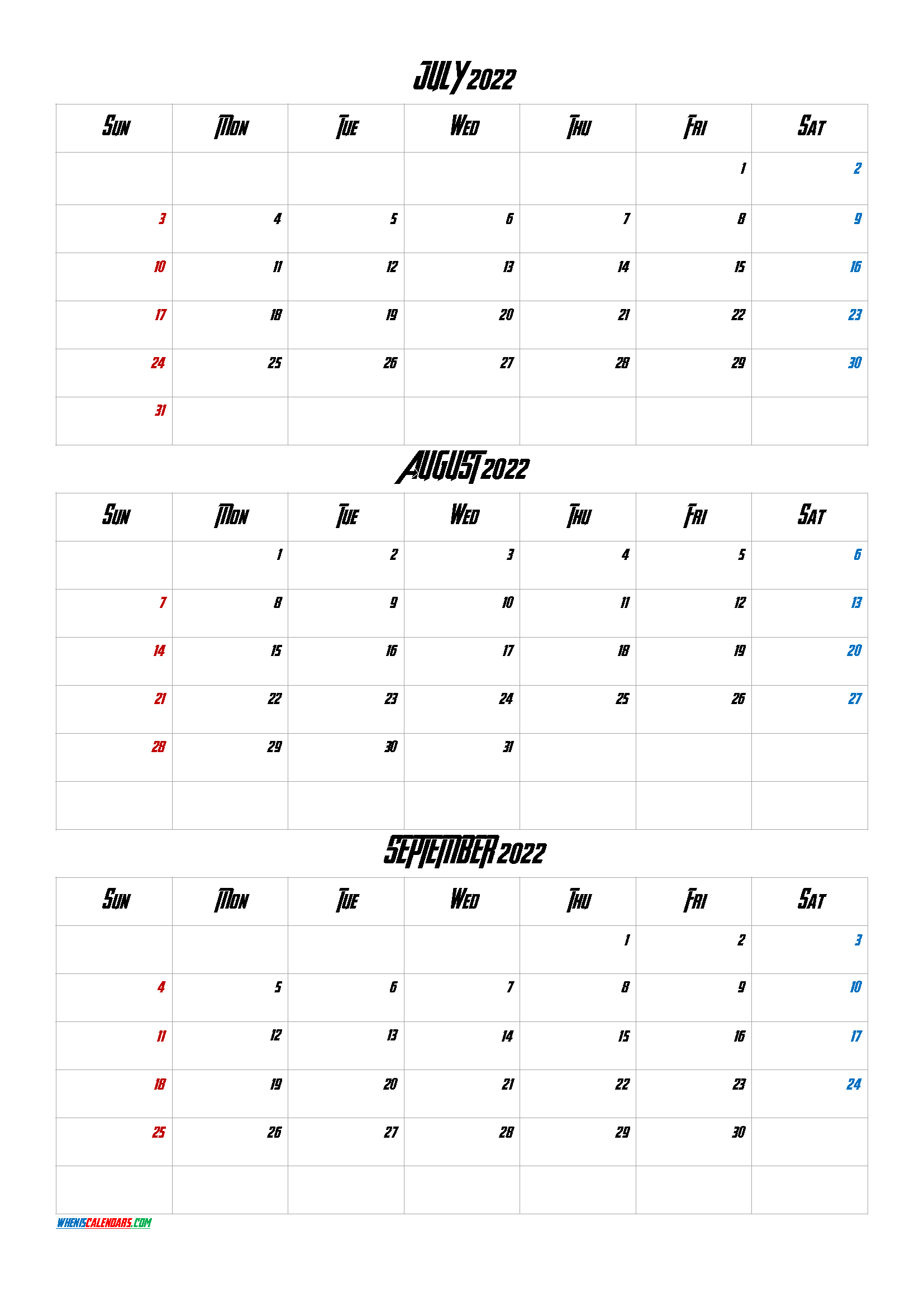 Printable Calendar July August September 2022