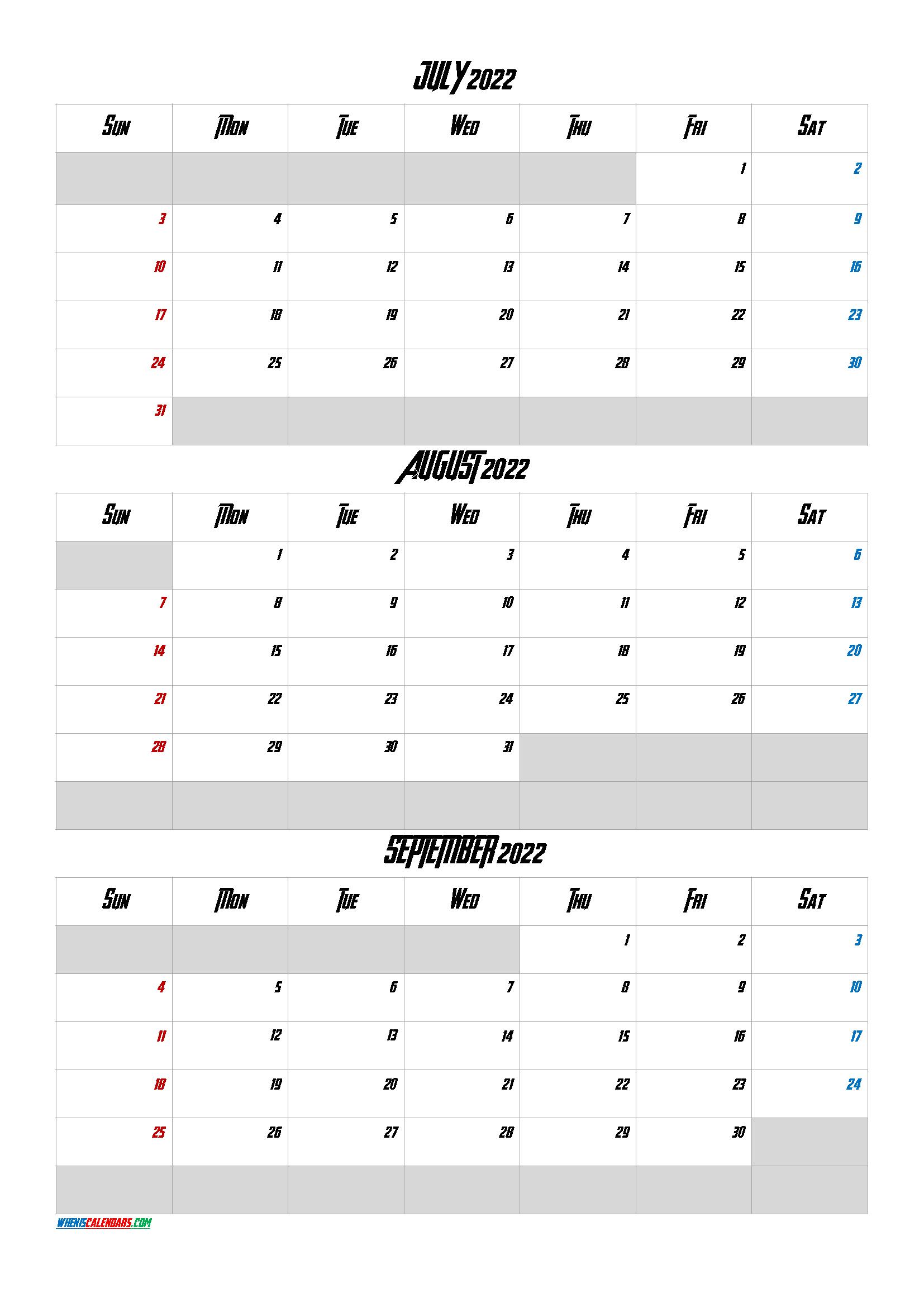July August September 2022 Calendar Printable