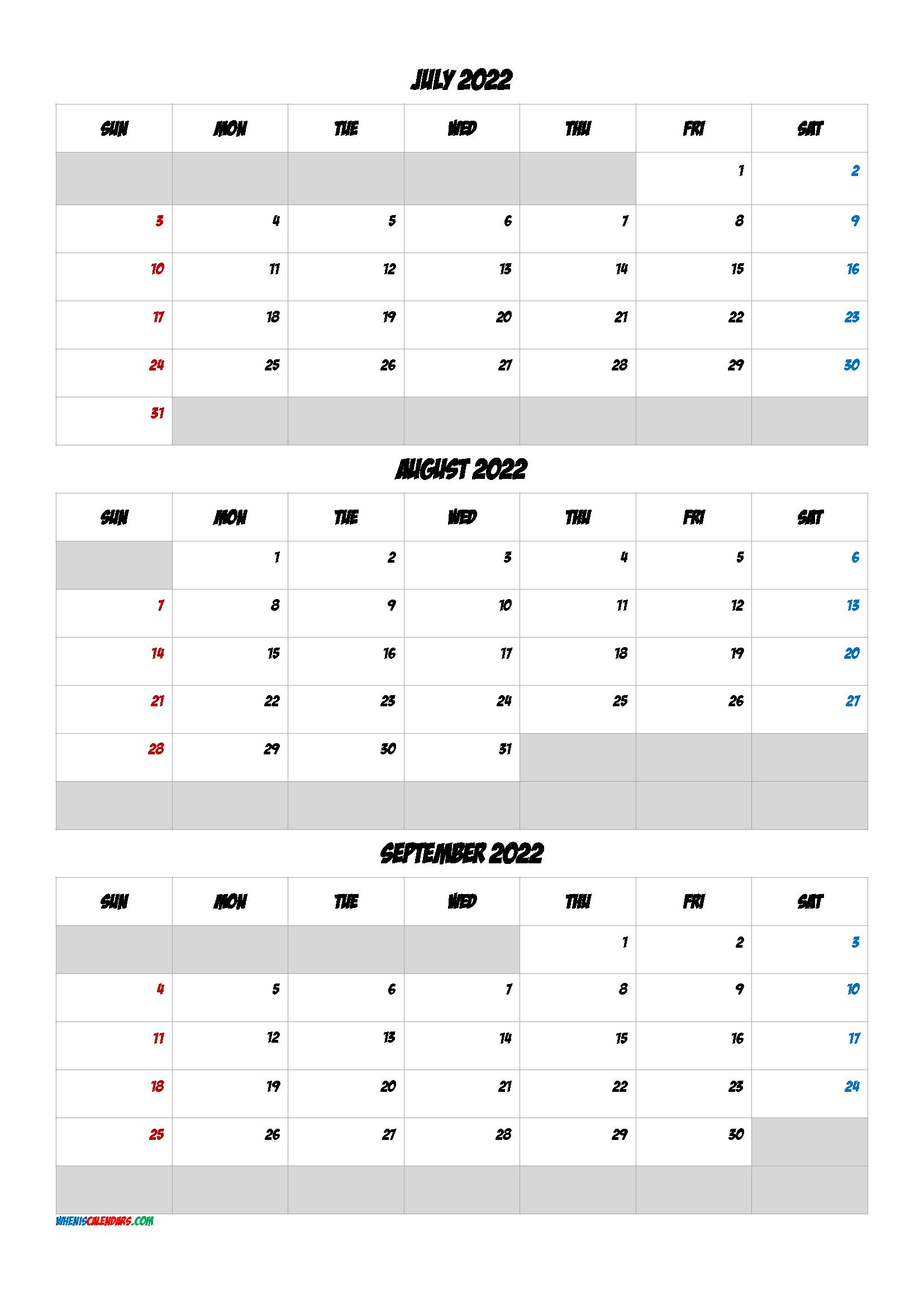 Free Calendar July August September 2022