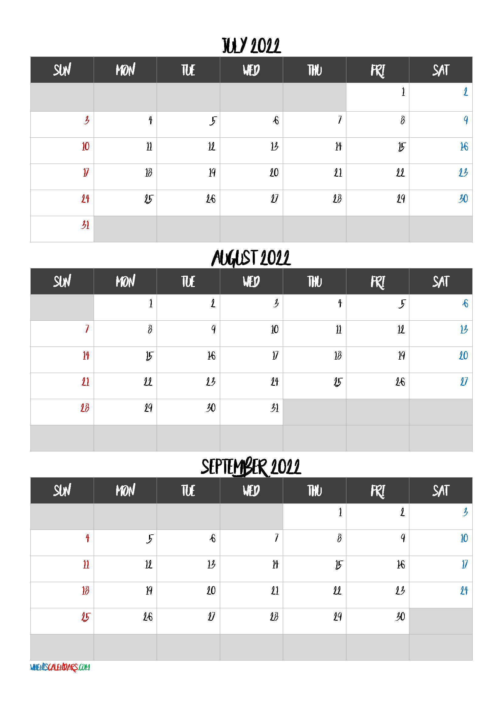 July August September 2022 Calendar Free Download