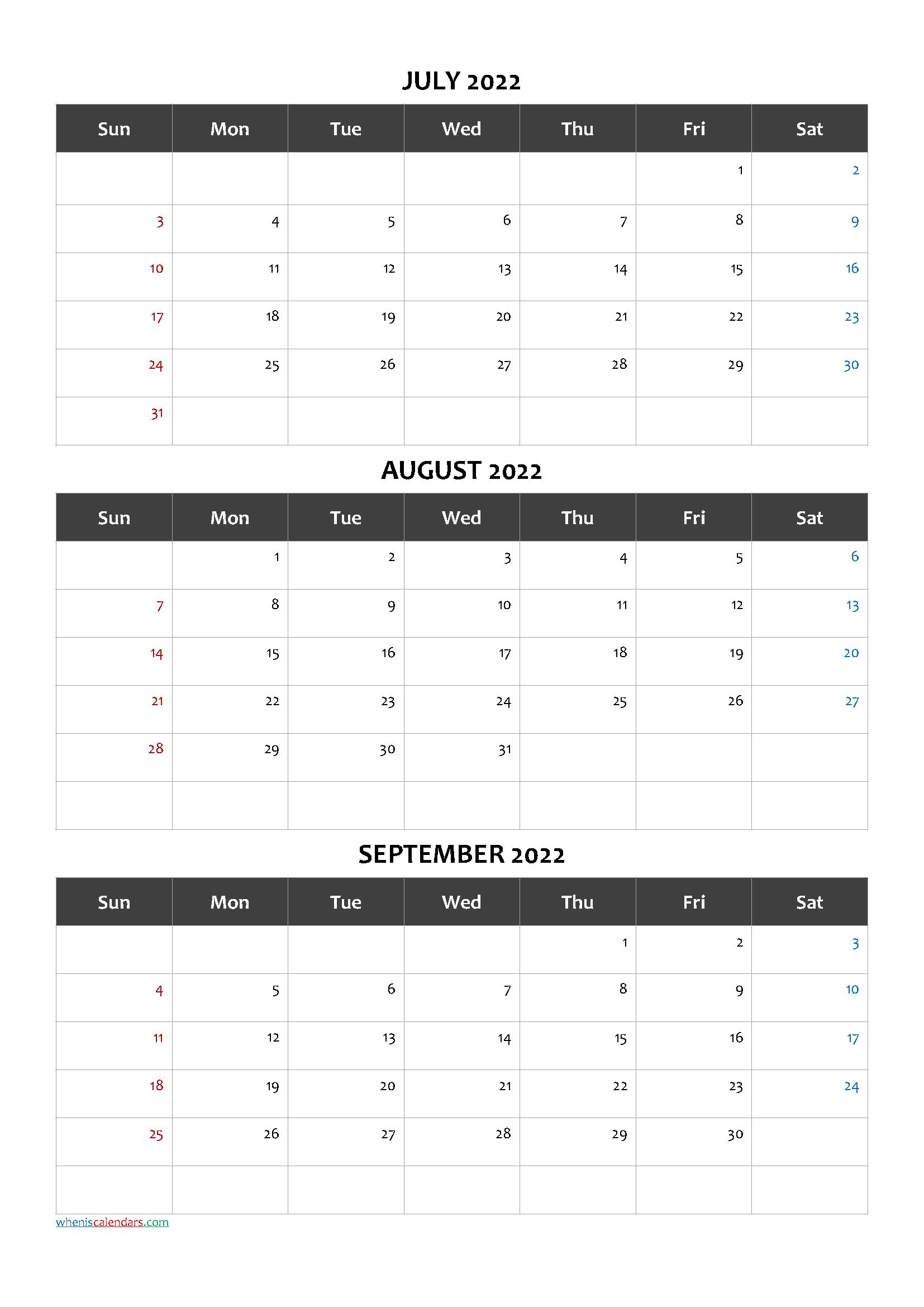 Free Printable 3 Month Calendar2022 July August September