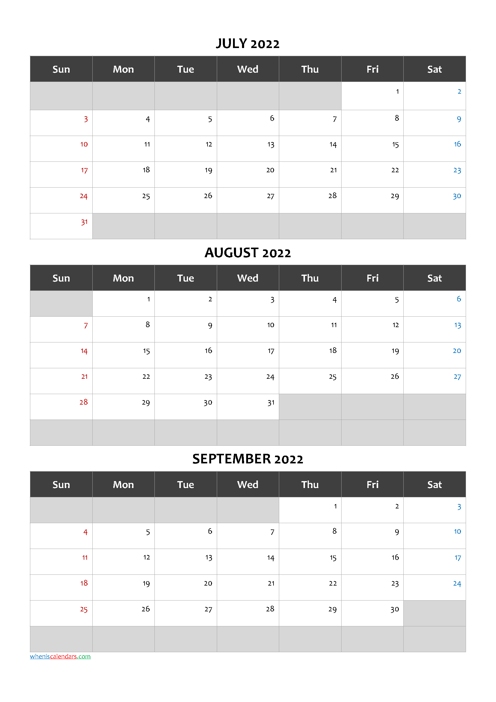 Printable Calendar July August September 2022