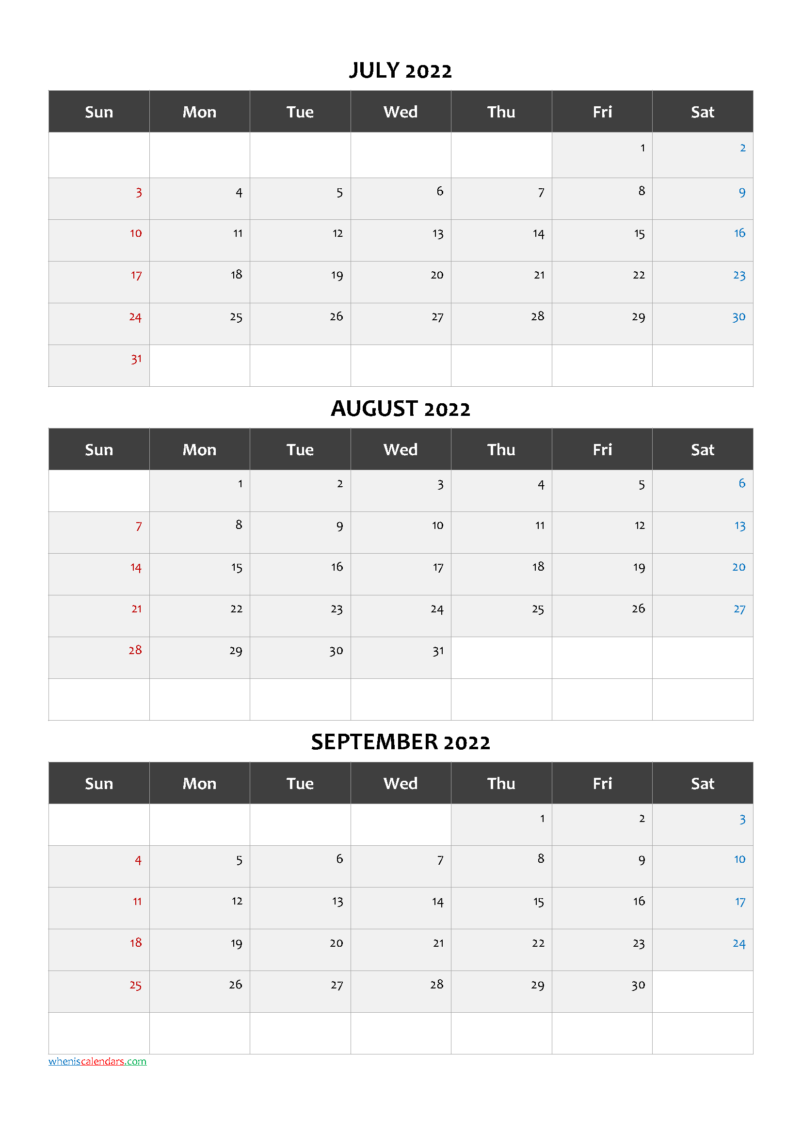 July August September 2022 Printable Calendar