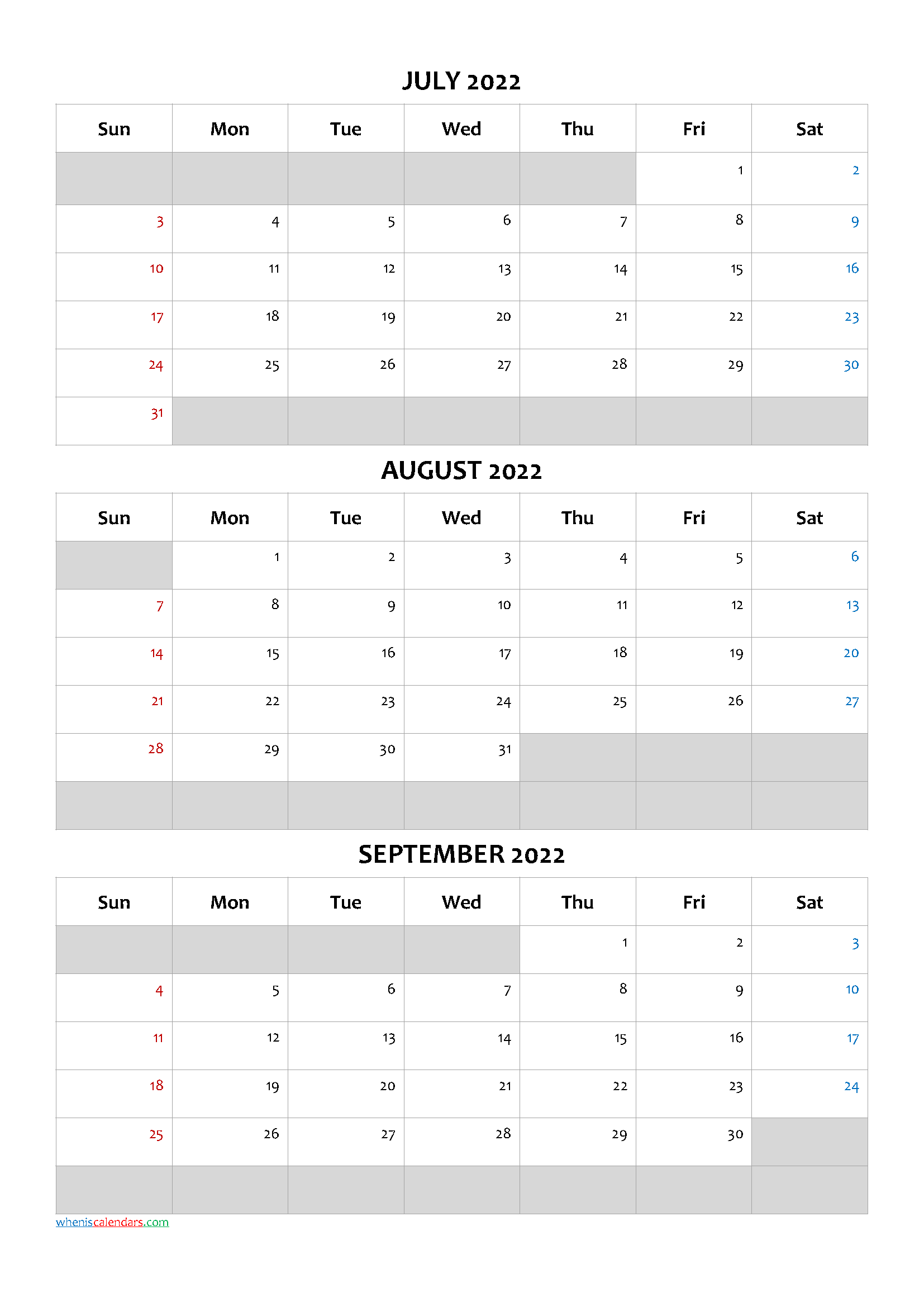July August September 2022 Calendar Template