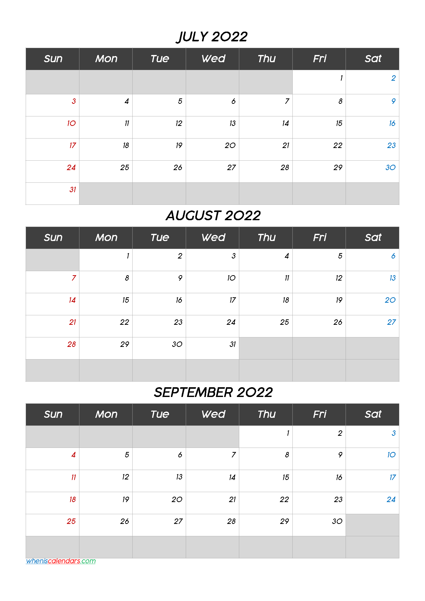July August September 2022 Printable Calendar