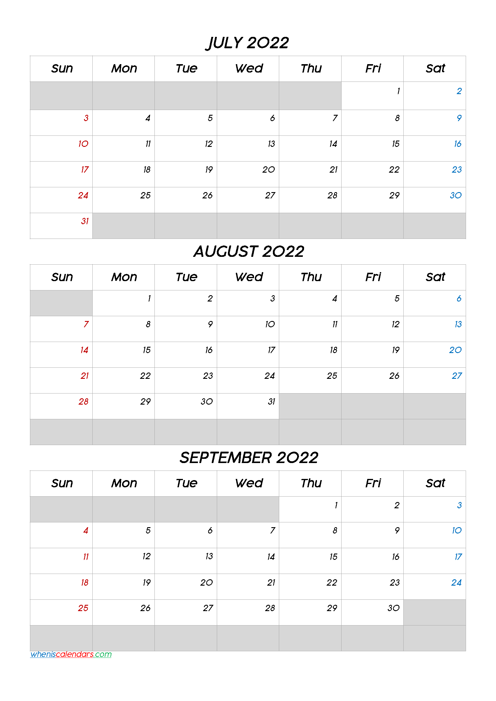 July August September 2022 Free Printable 3 Month Calendar