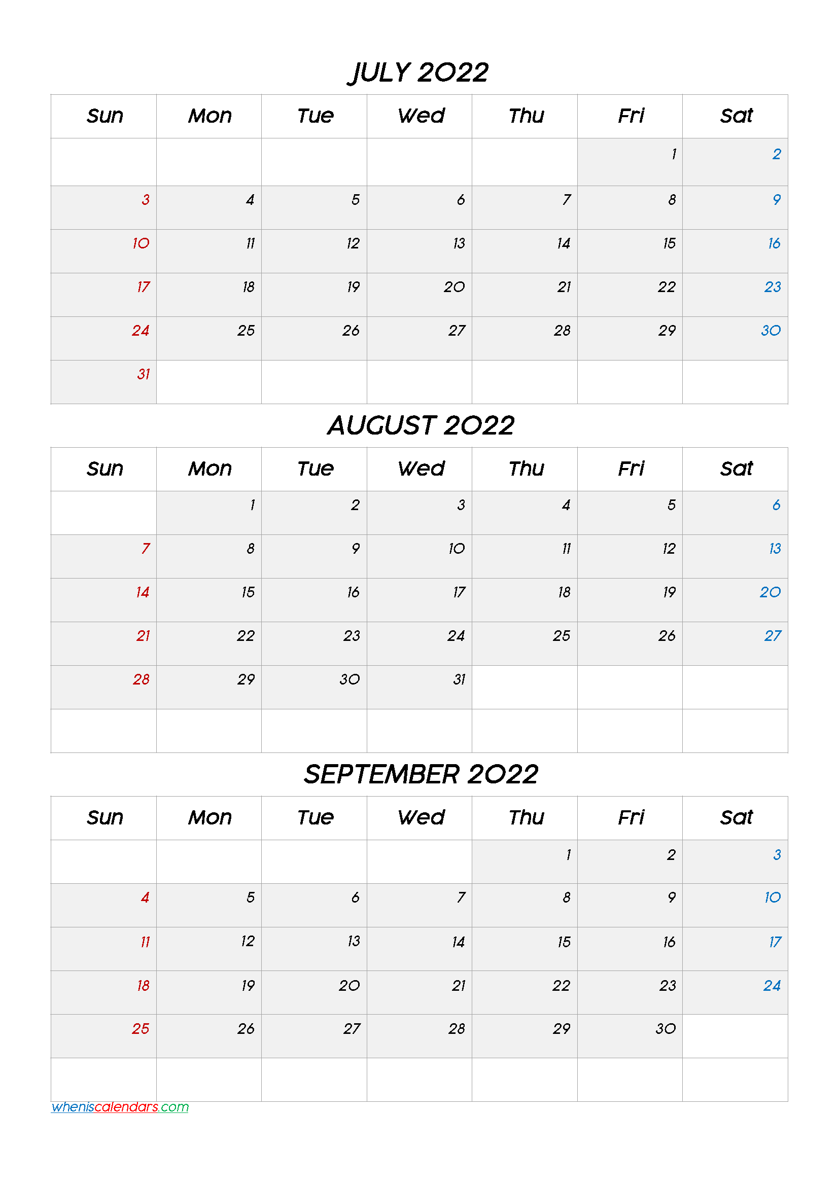 Printable July August September 2022 Calendar