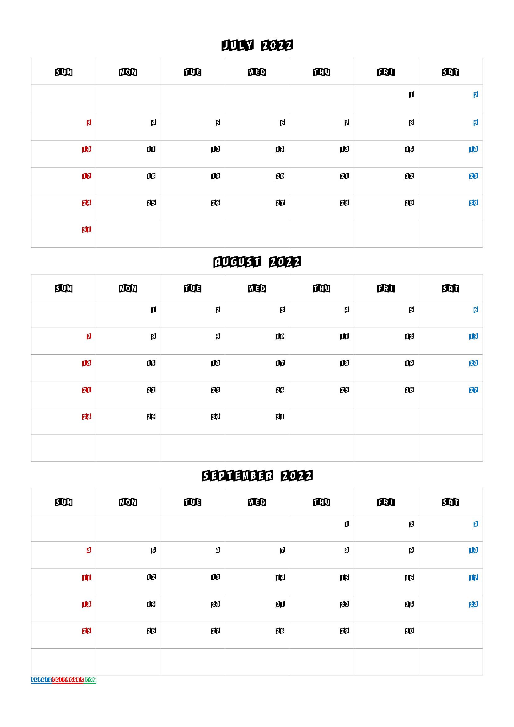July August September 2022 Calendar PDF