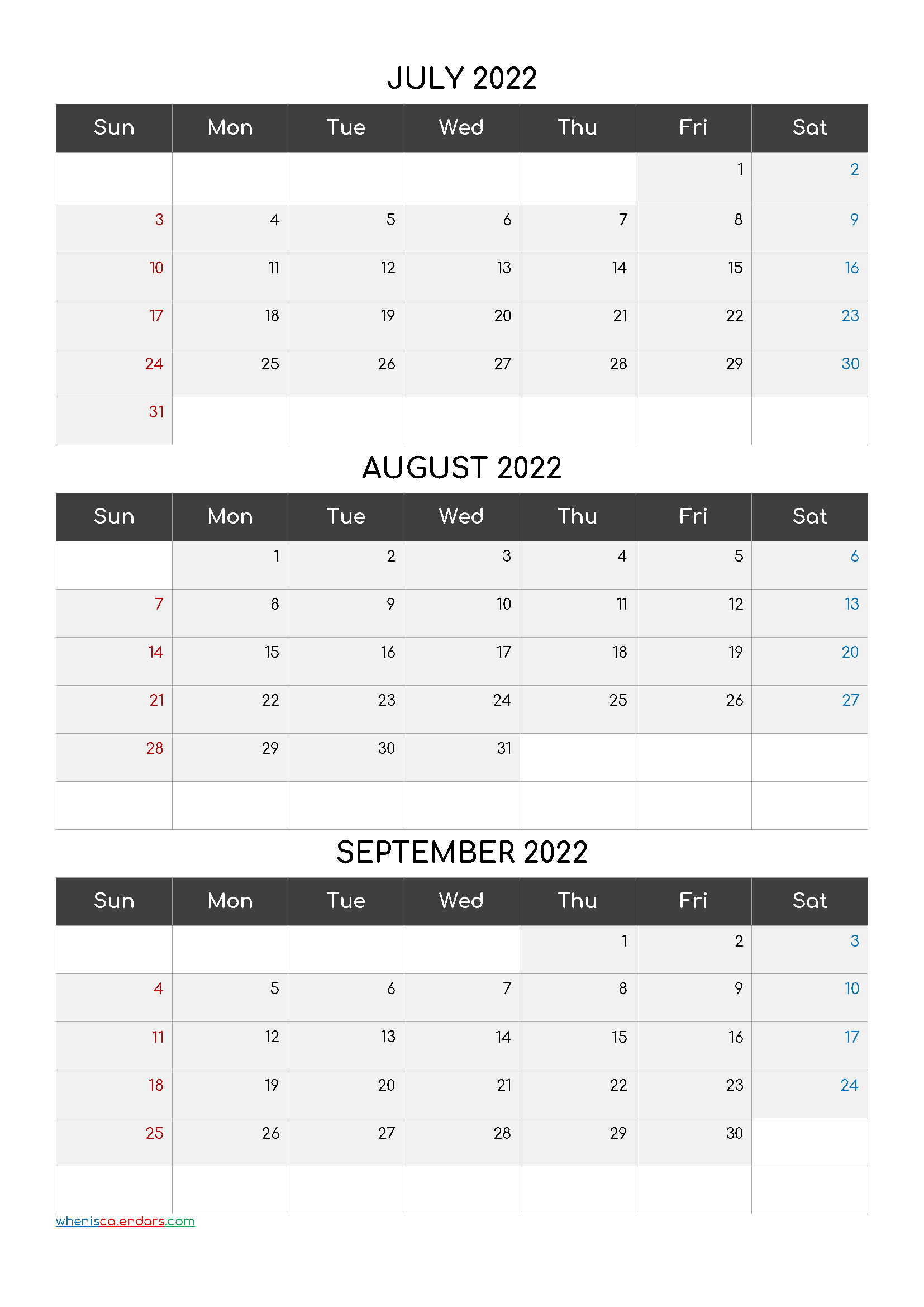 July August September 2022 Calendar Printable