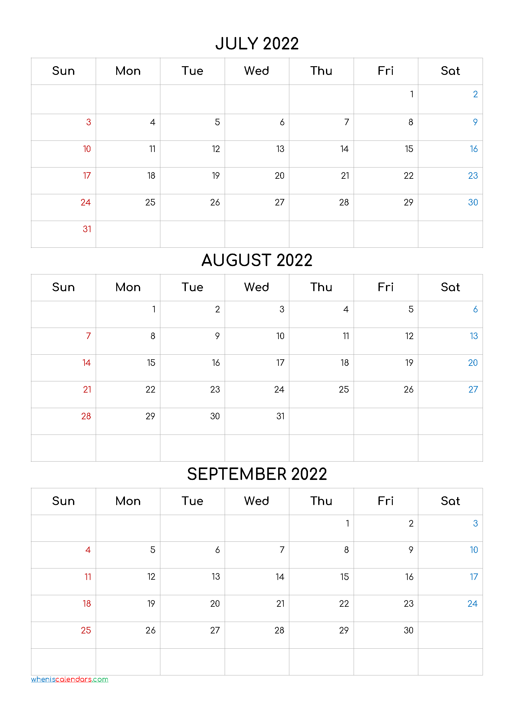 July August September 2022 Calendar Printable Free