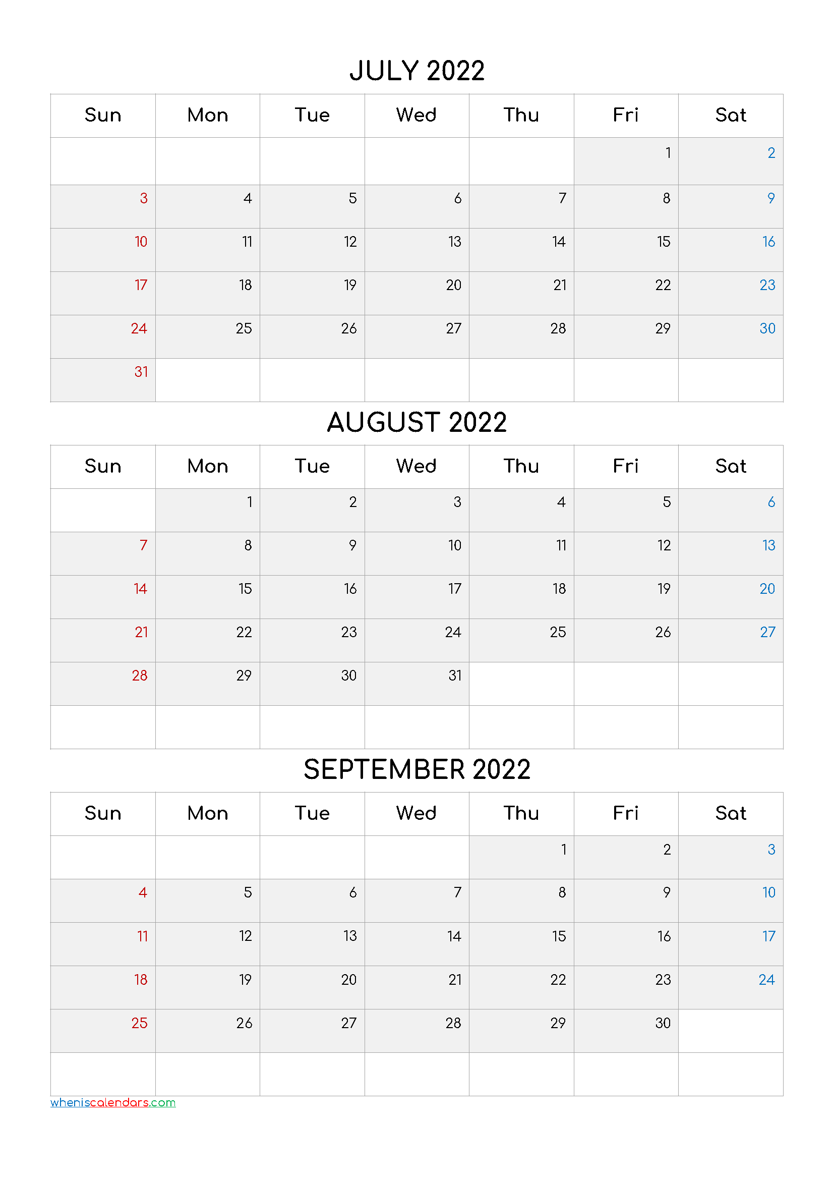 July August September 2022 Three Month Calendar