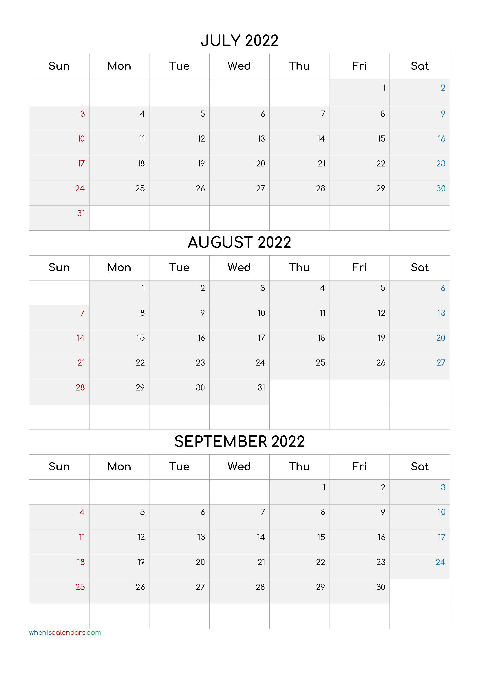 Free July August September 2022 Calendar