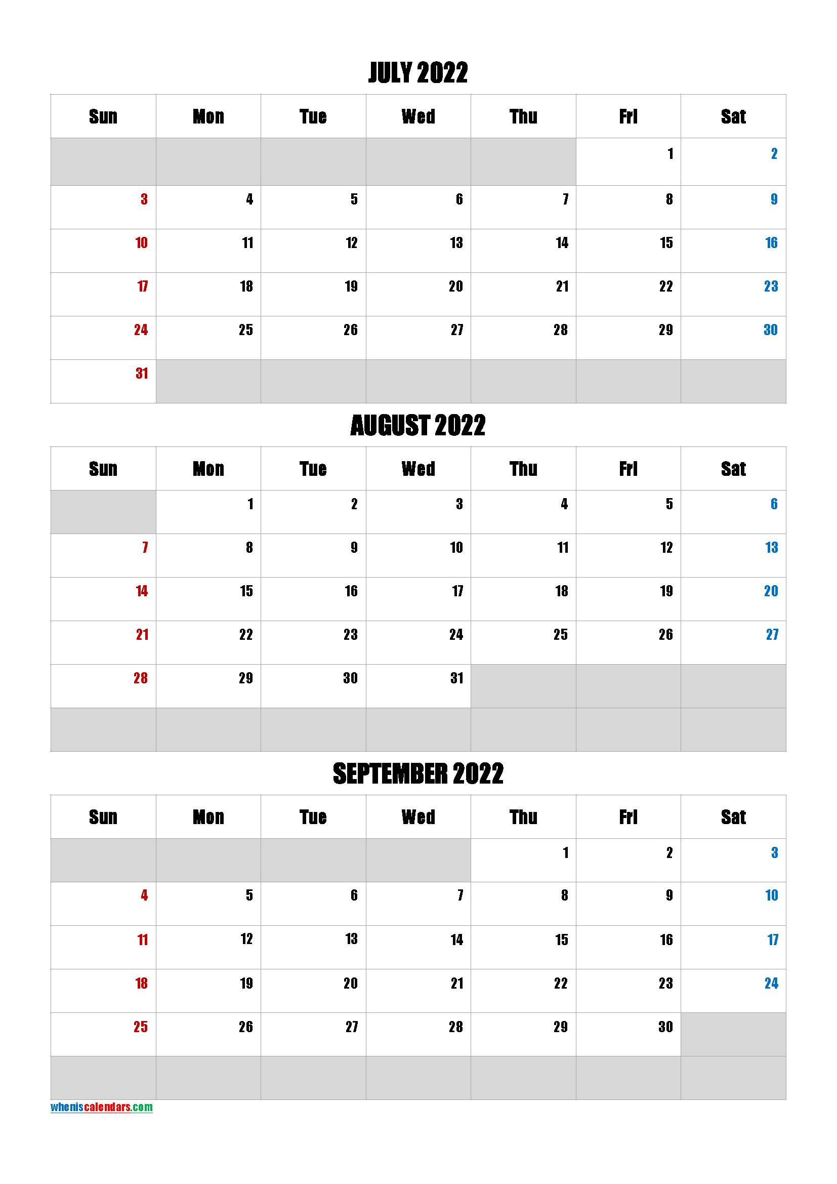 July August September 2022 Calendar