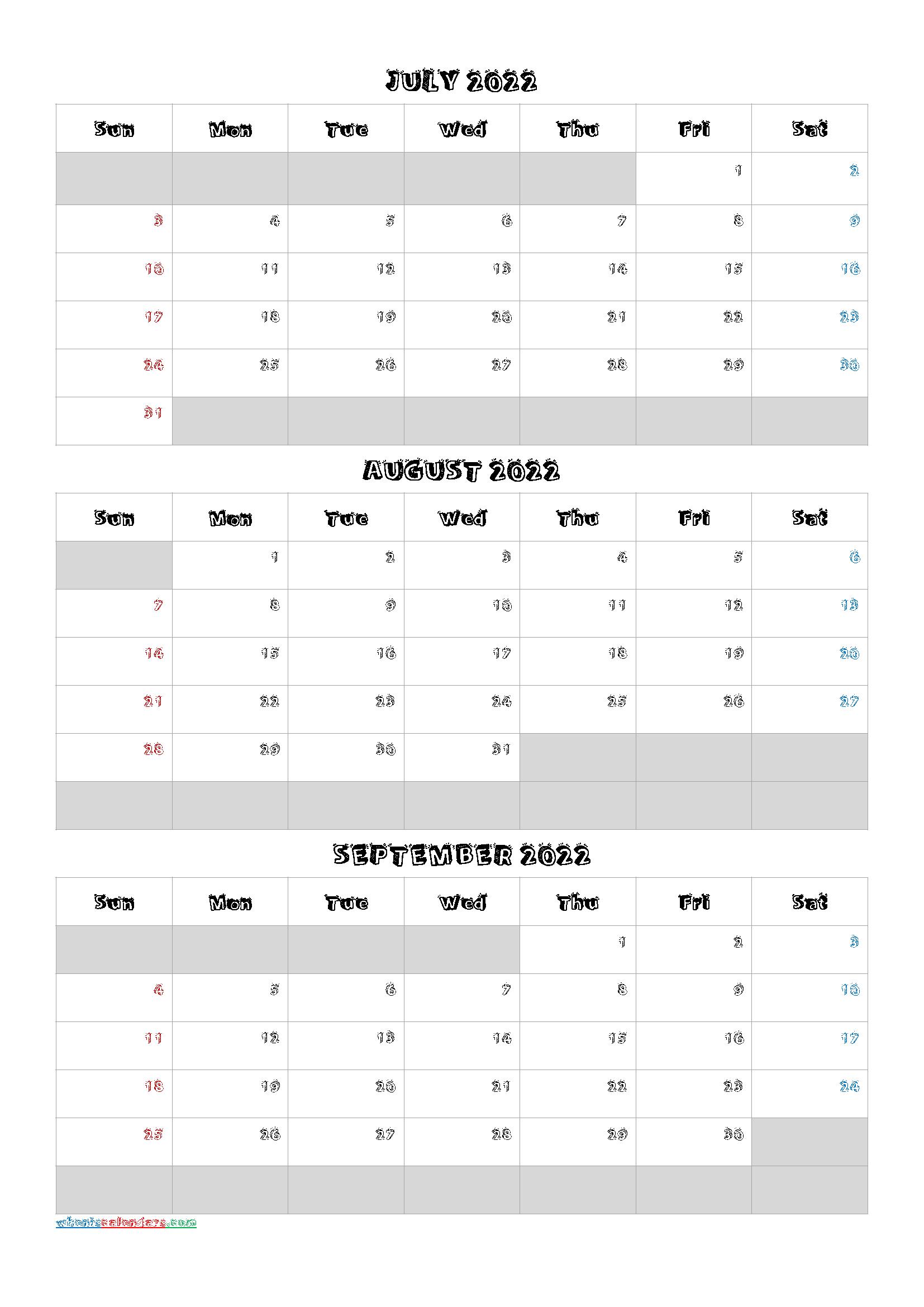 July August September 2022 Free Printable 3 Month Calendar