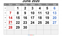 June 2020 Printable Calendar with Holidays