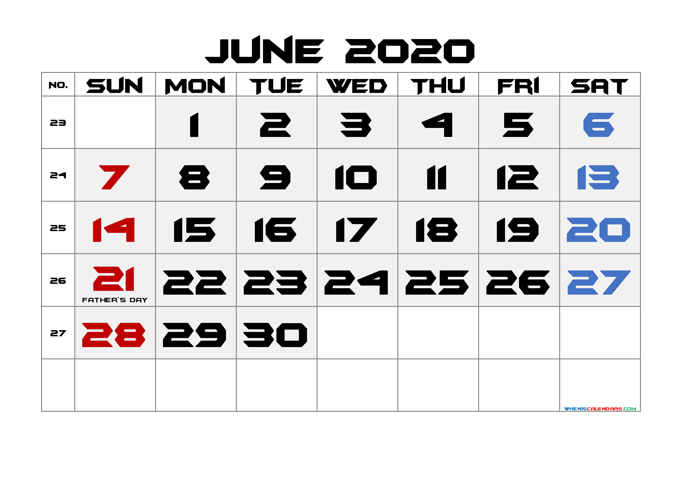 Free June 2020 Printable Calendar with Holidays