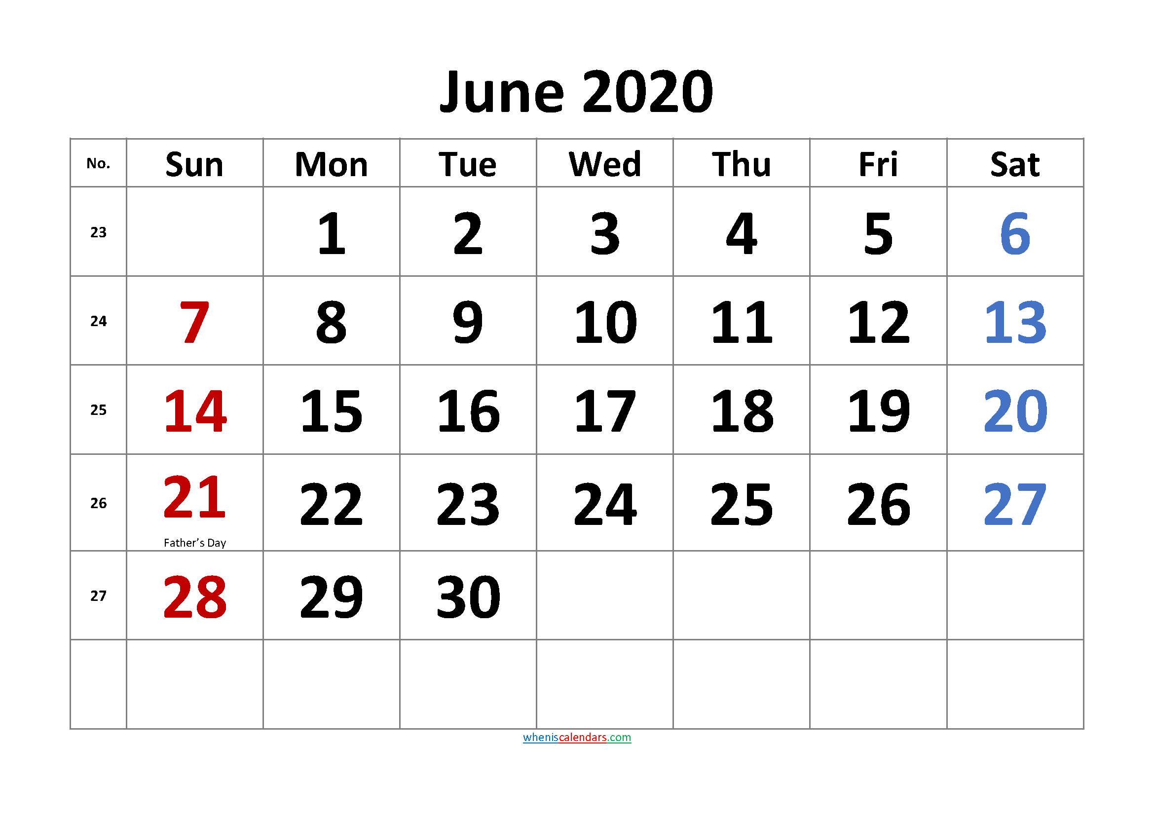 Free Printable Coloring Calendar 2020 June