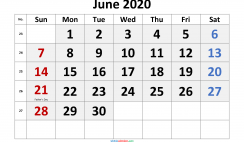 Free June 2020 Calendar Printable