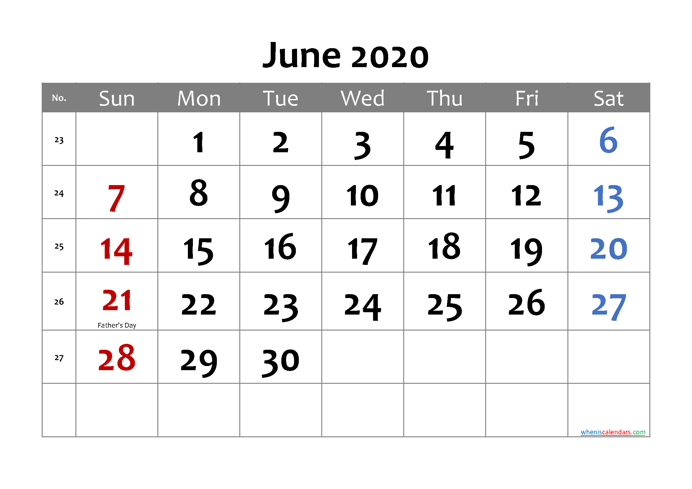 Free Printable JUNE 2020 Calendar with Holidays