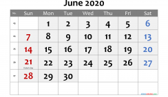 Printable June 2020 Calendar with Holidays