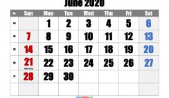 June 2020 Printable Calendar with Holidays