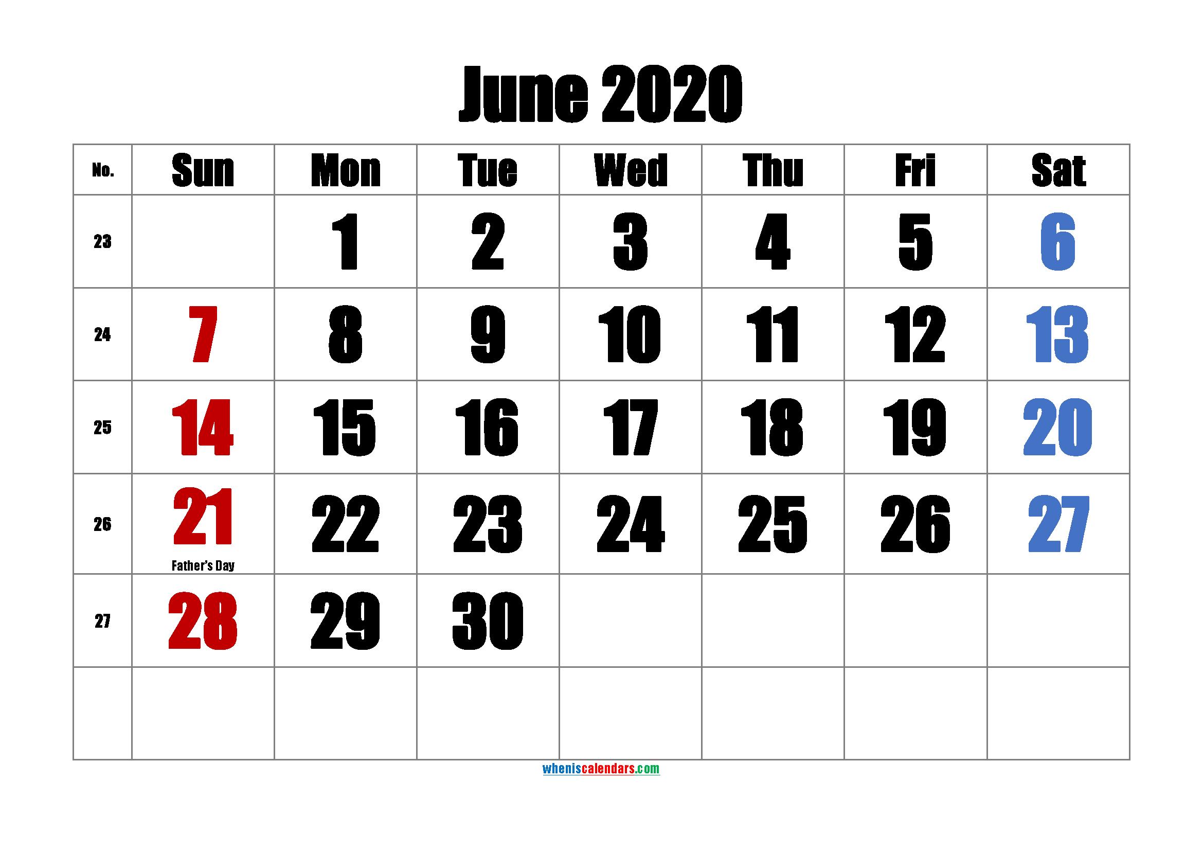 Free Printable June 2020 Calendar
