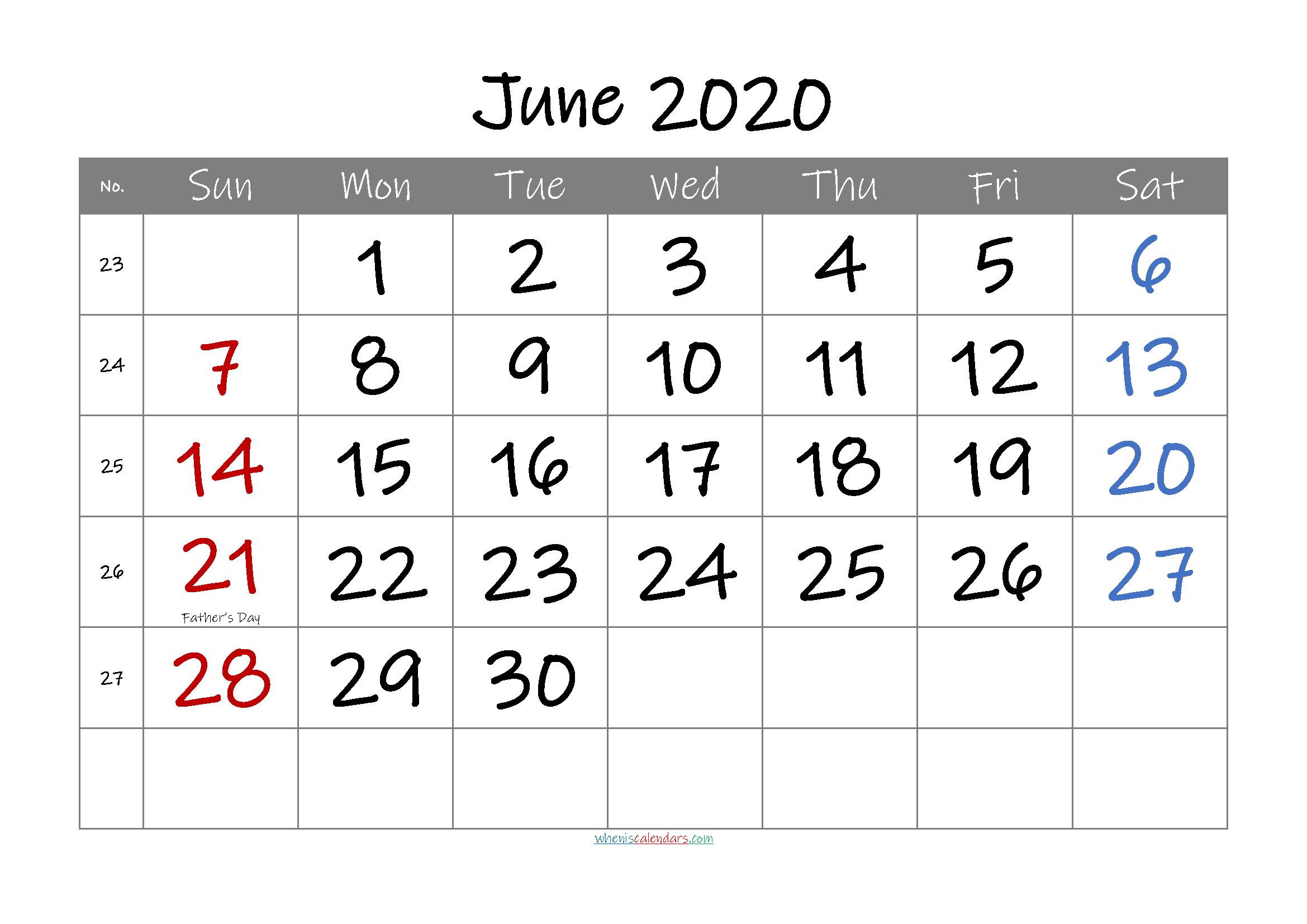 Free Printable June 2020 Calendar with Holidays