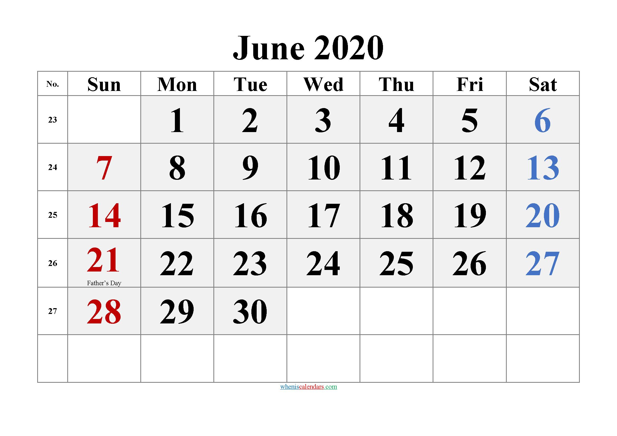 Printable June 2020 Calendar Word