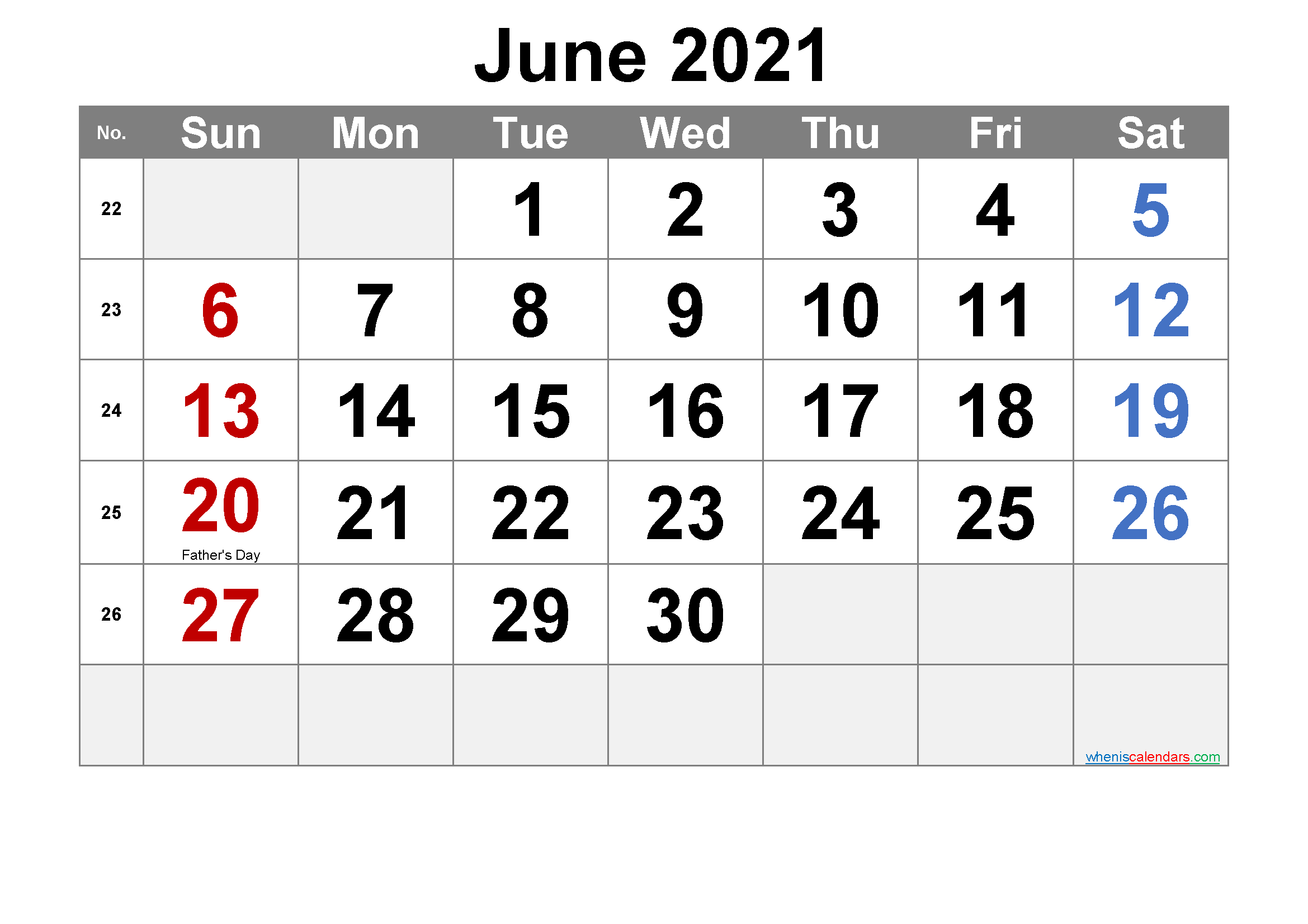 JUNE 2021 Printable Calendar with Holidays
