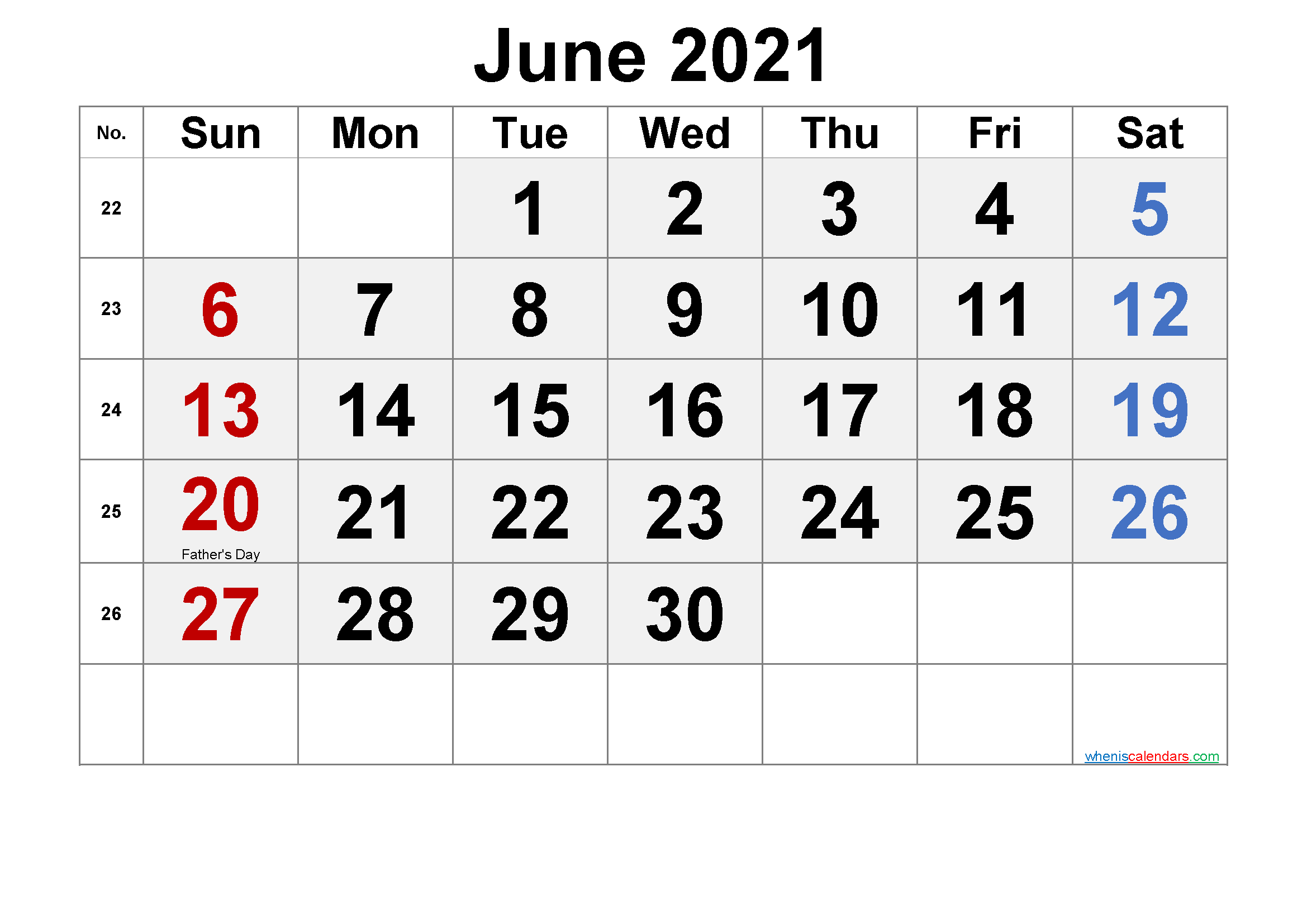 Printable June 2021 Calendar with Holidays | Free ...
