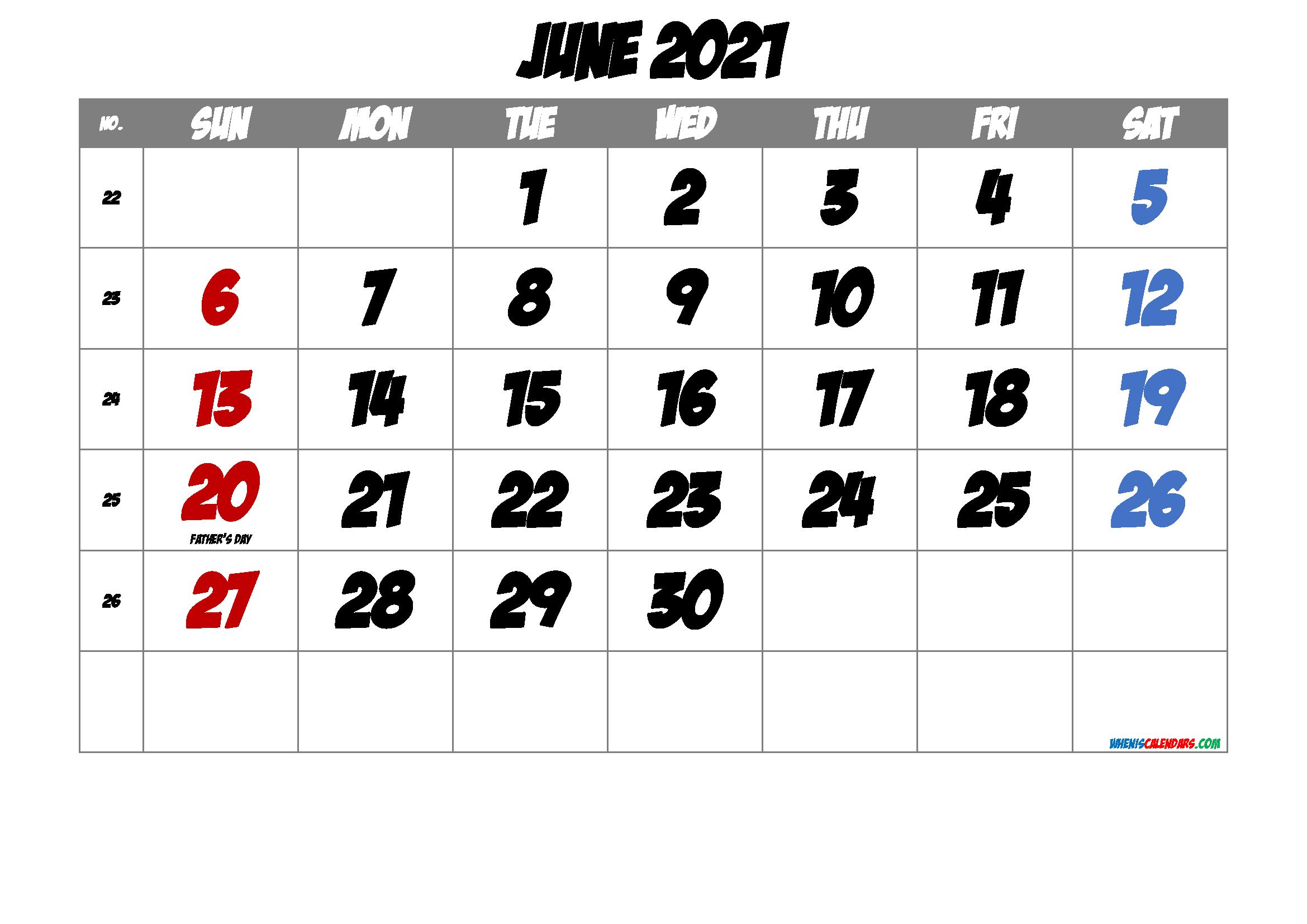 June 2021 Printable Calendar with Holidays
