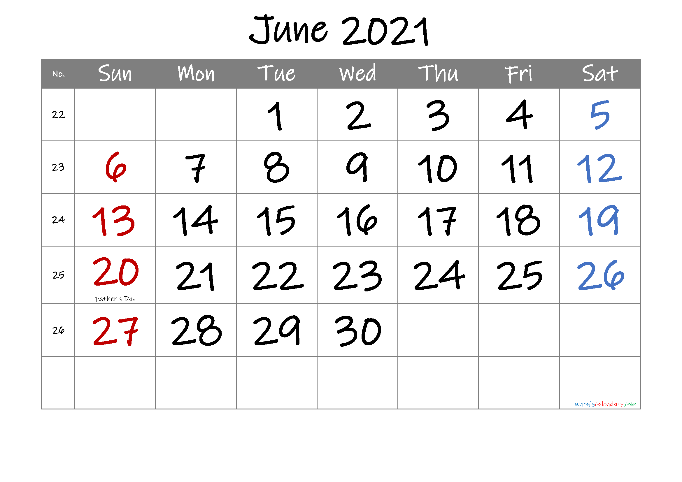 Free June 2021 Printable Calendar with Holidays