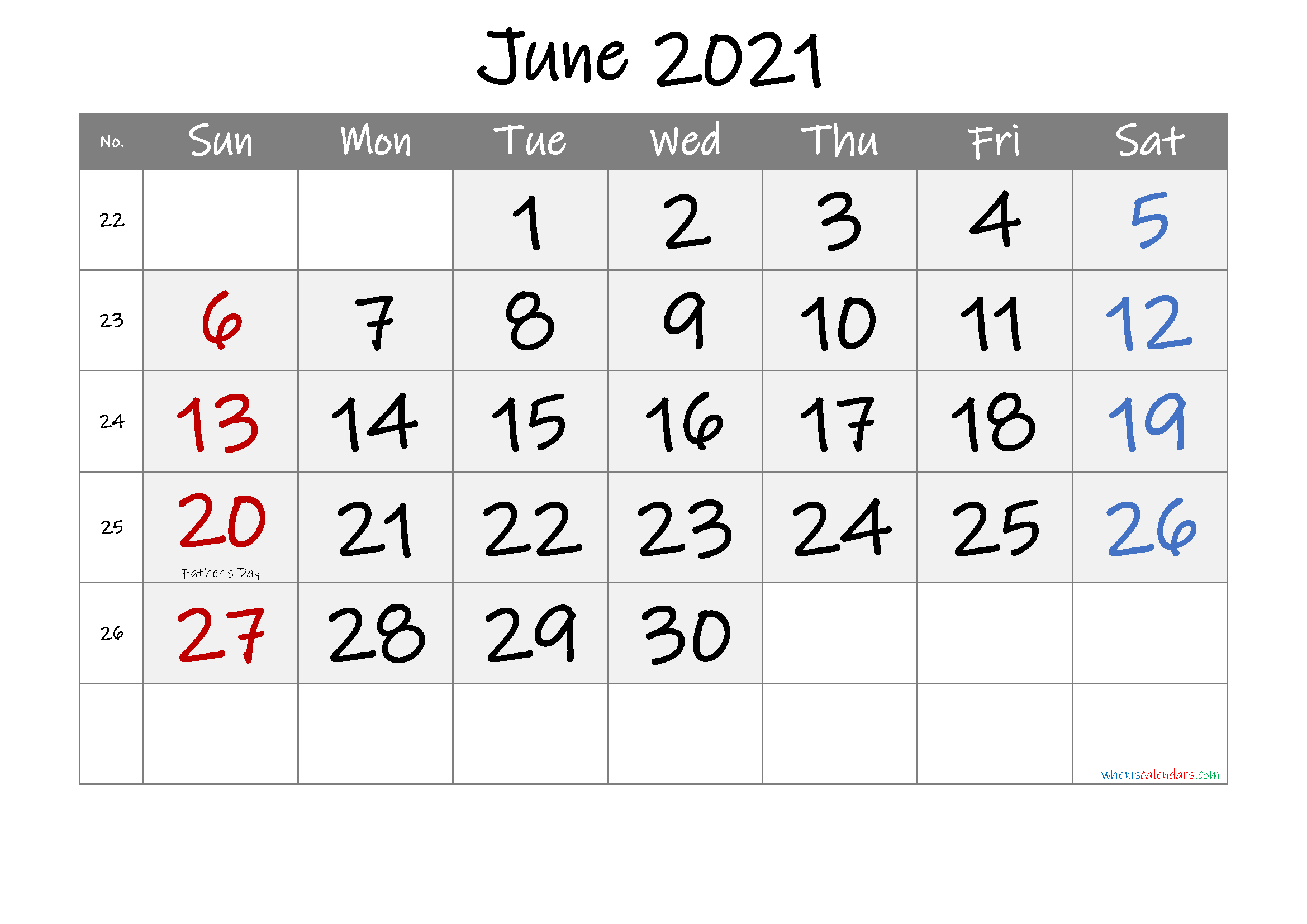 Printable June 2021 Calendar with Holidays - Free ...