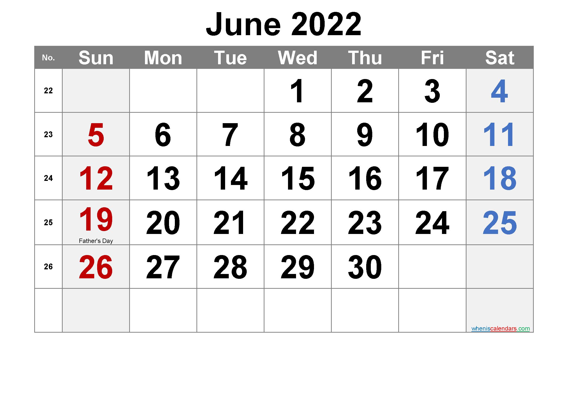 Printable June 2022 Calendar Word