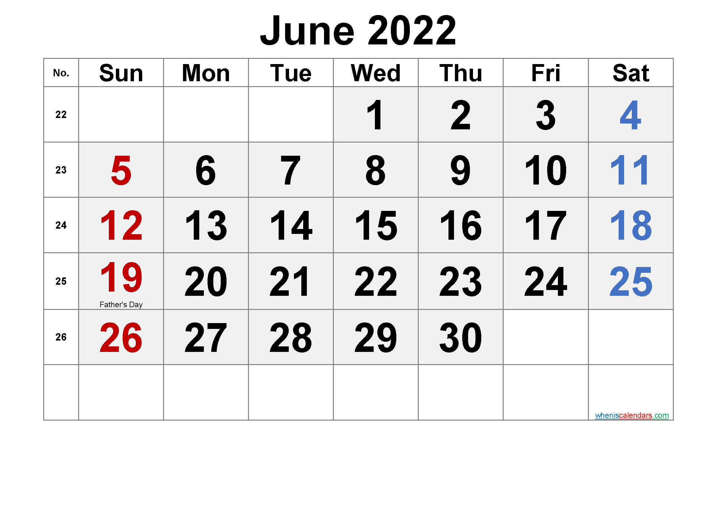 Printable June 2022 Calendar with Holidays